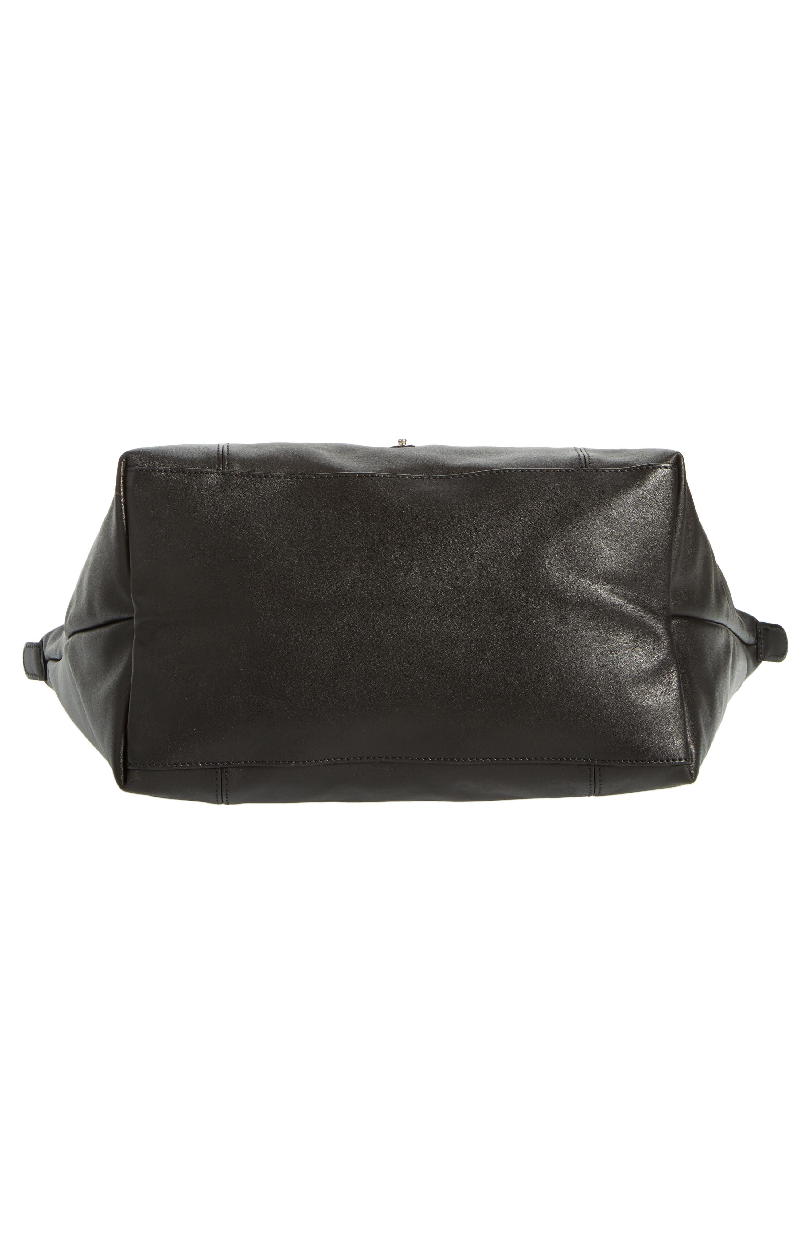 Le Pliage Cuir Leather Tote,                             Alternate thumbnail 7, color,                             BLACK