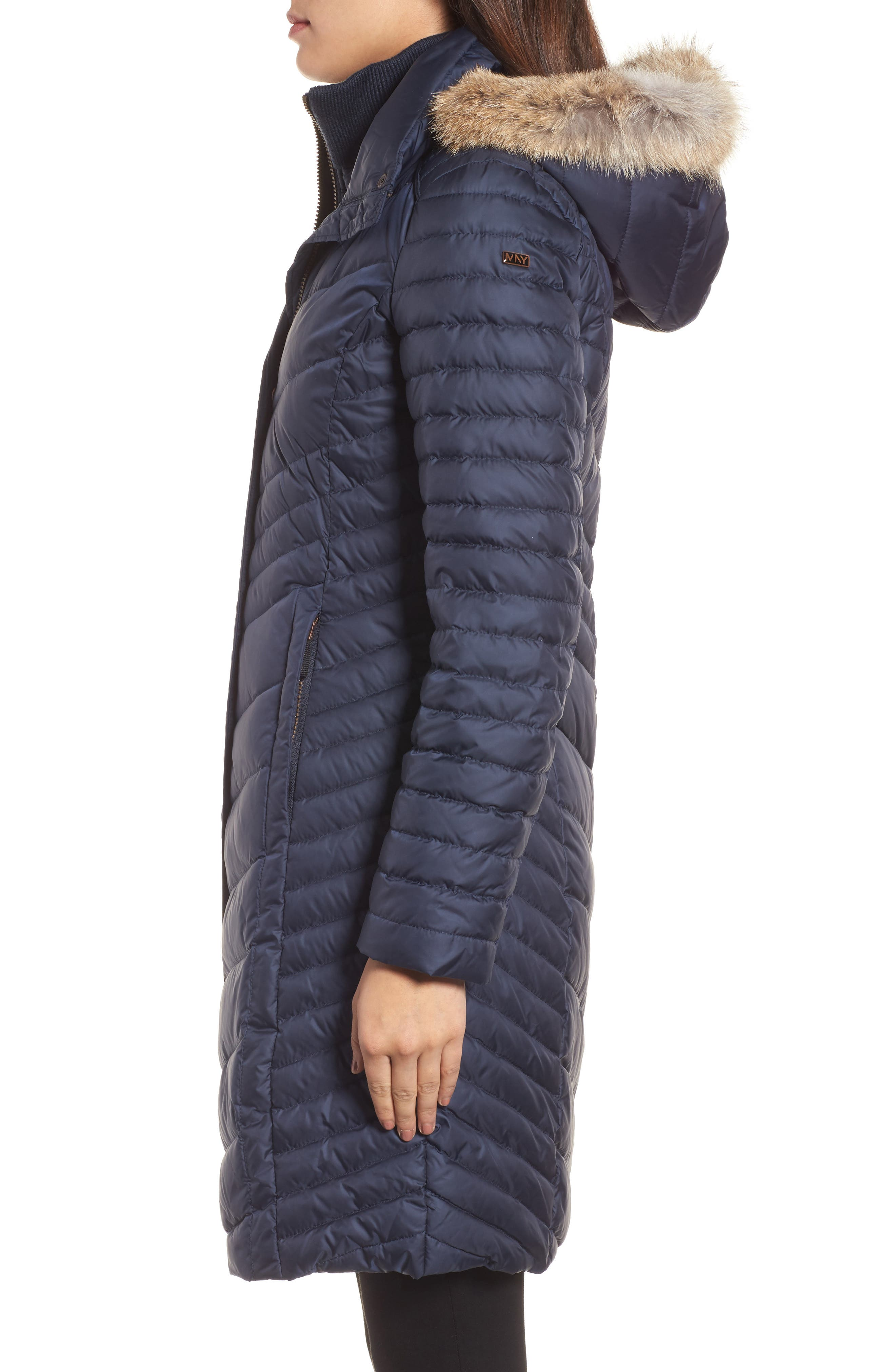 Chevron Quilted Coat with Genuine Coyote Fur Trim,                             Alternate thumbnail 9, color,