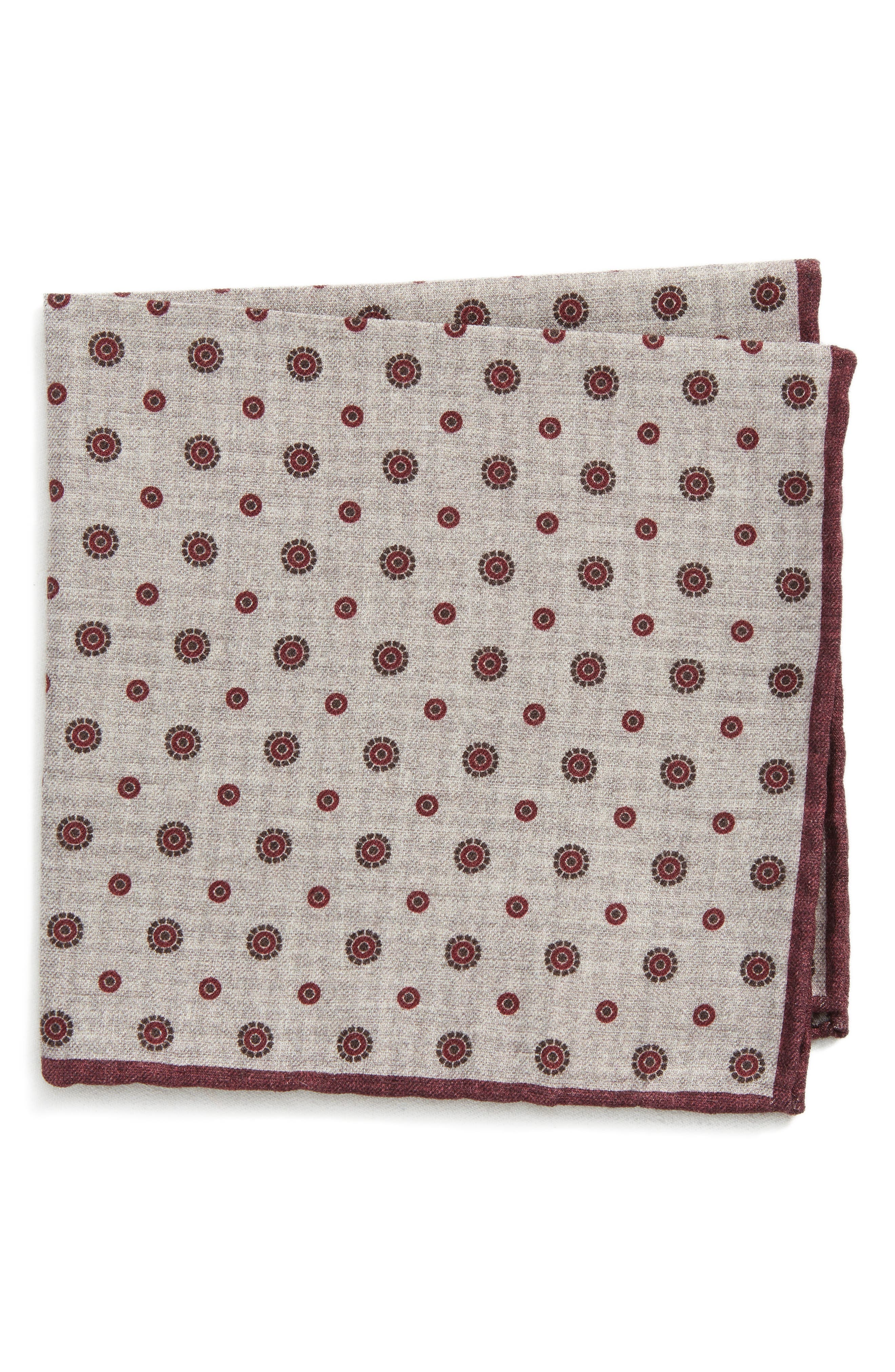 Medallion Wool & Cotton Pocket Square,                             Main thumbnail 1, color,
