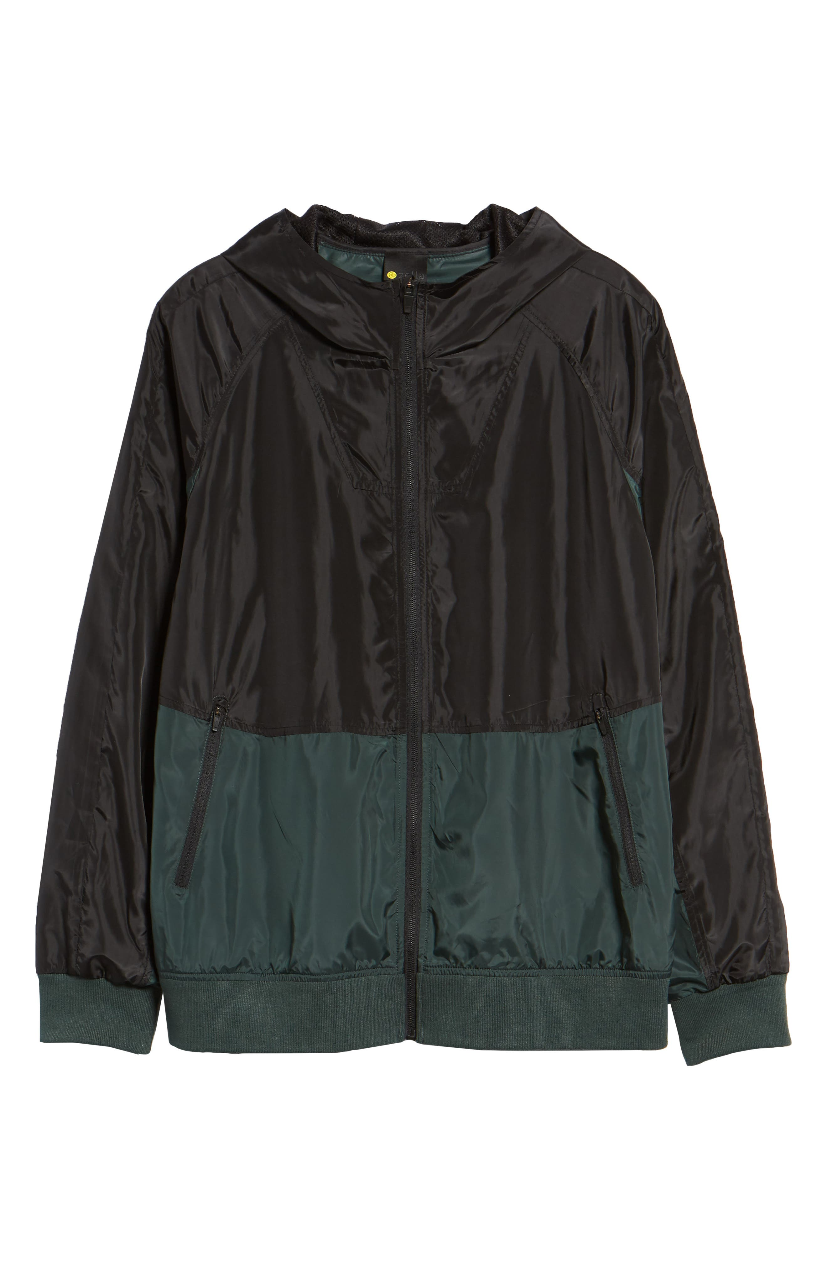 Colorblock Hooded Windbreaker Jacket,                             Alternate thumbnail 6, color,                             BLACK GREEN ODINITE