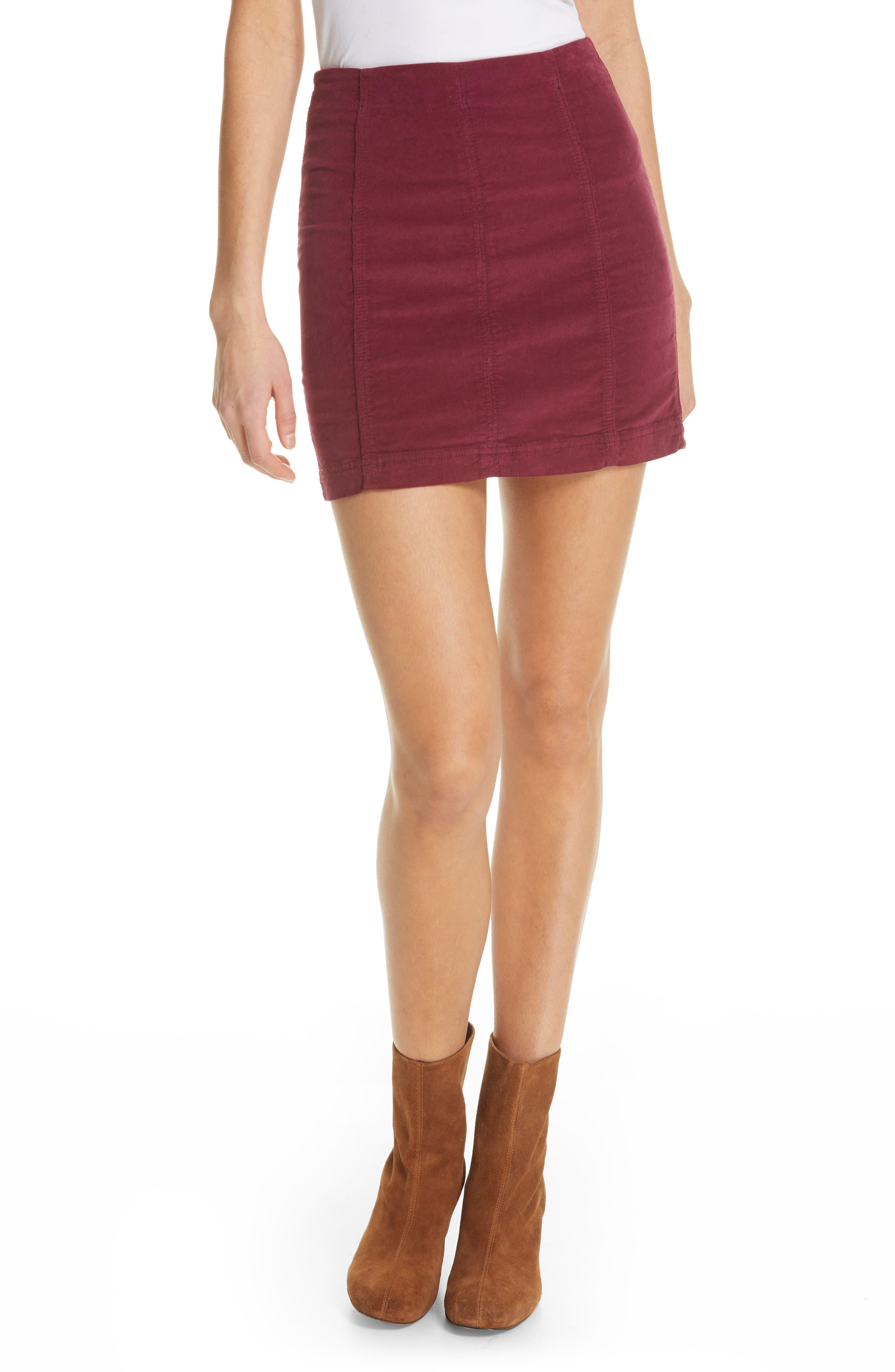 Free People Corduroy Miniskirt, Burgundy