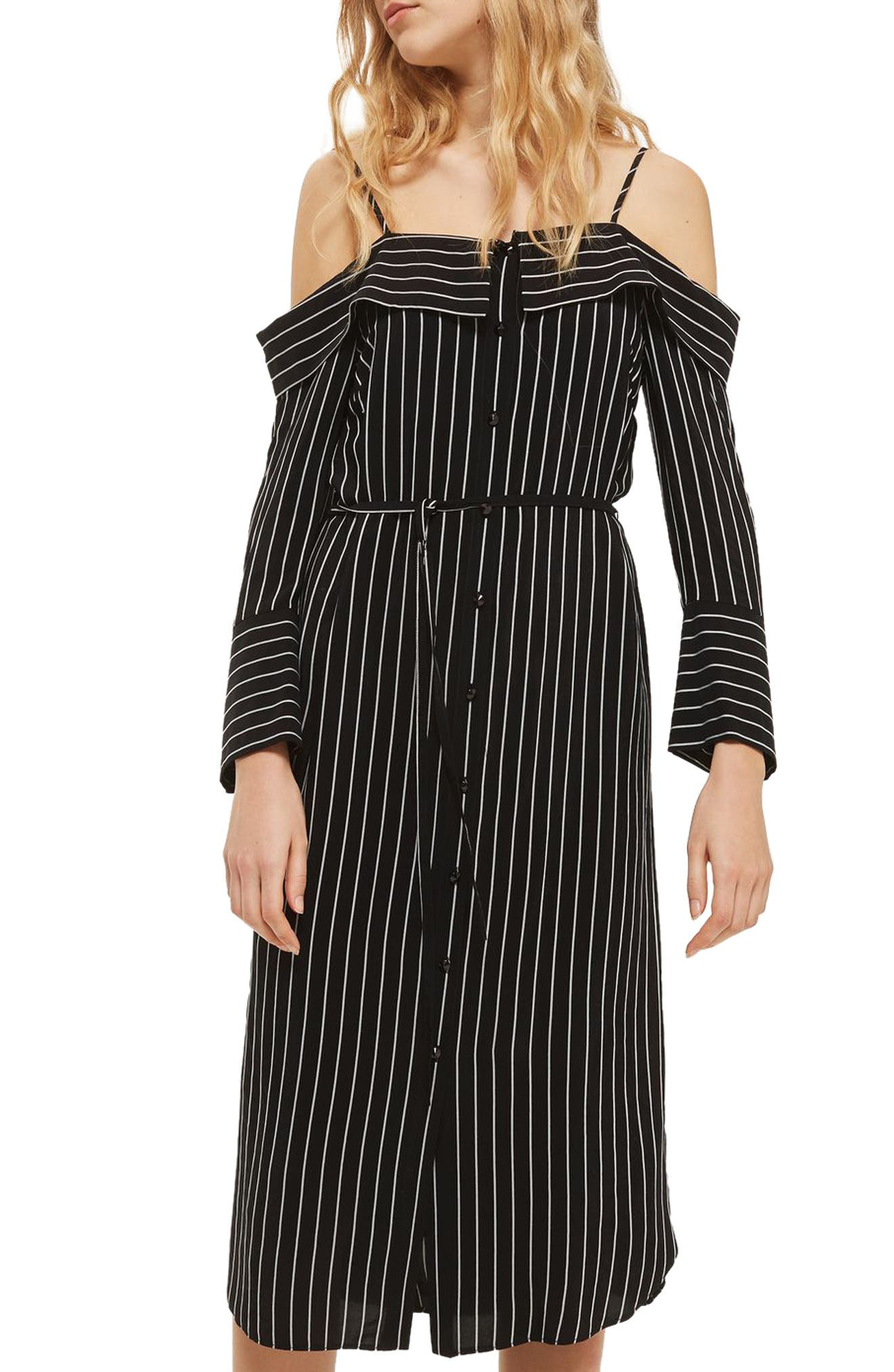 Pinstripe Midi Shirtdress,                         Main,                         color, 001