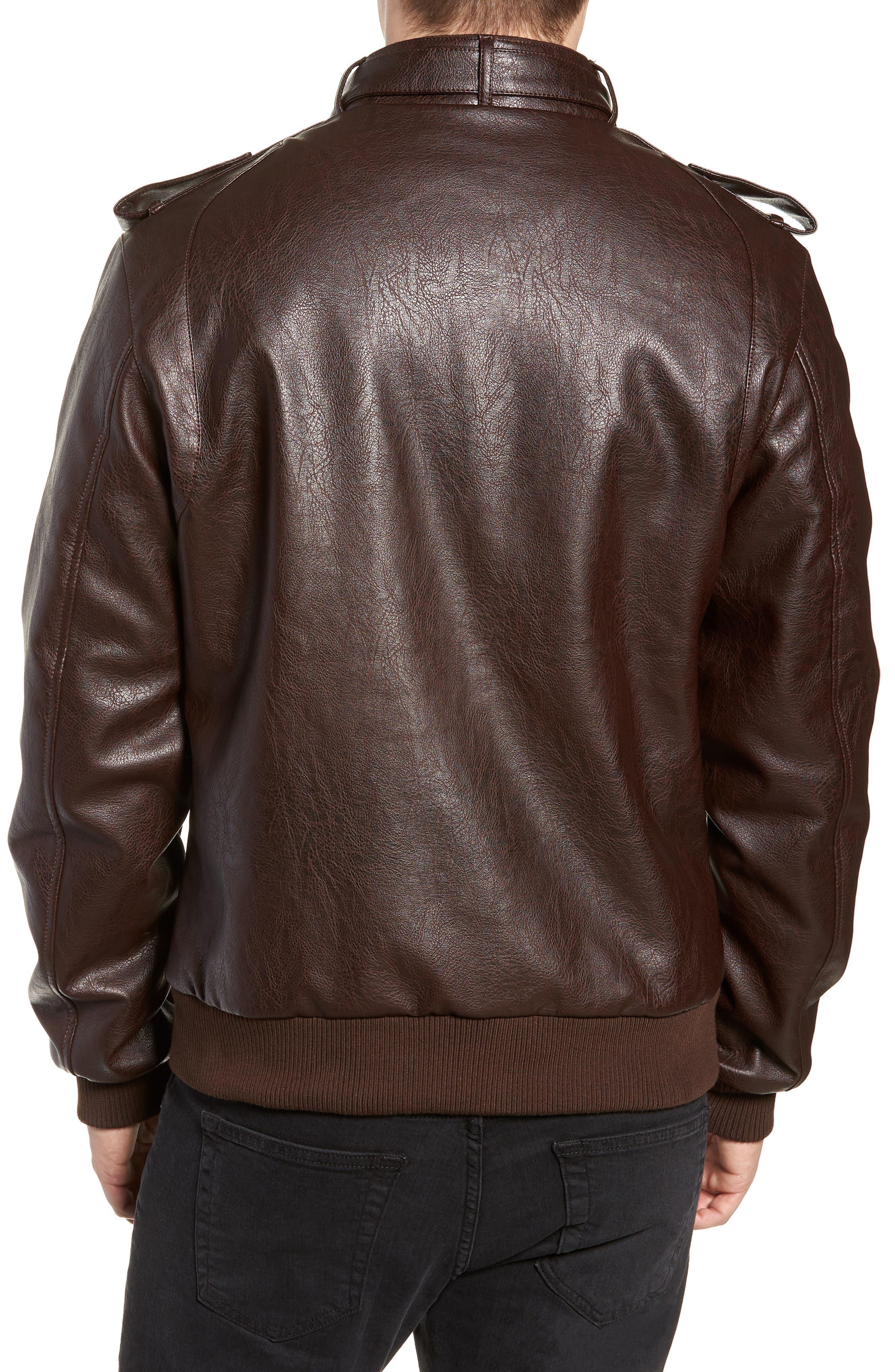 Vintage Faux Leather Racer Jacket,                             Alternate thumbnail 2, color,                             DISTRESSED BROWN