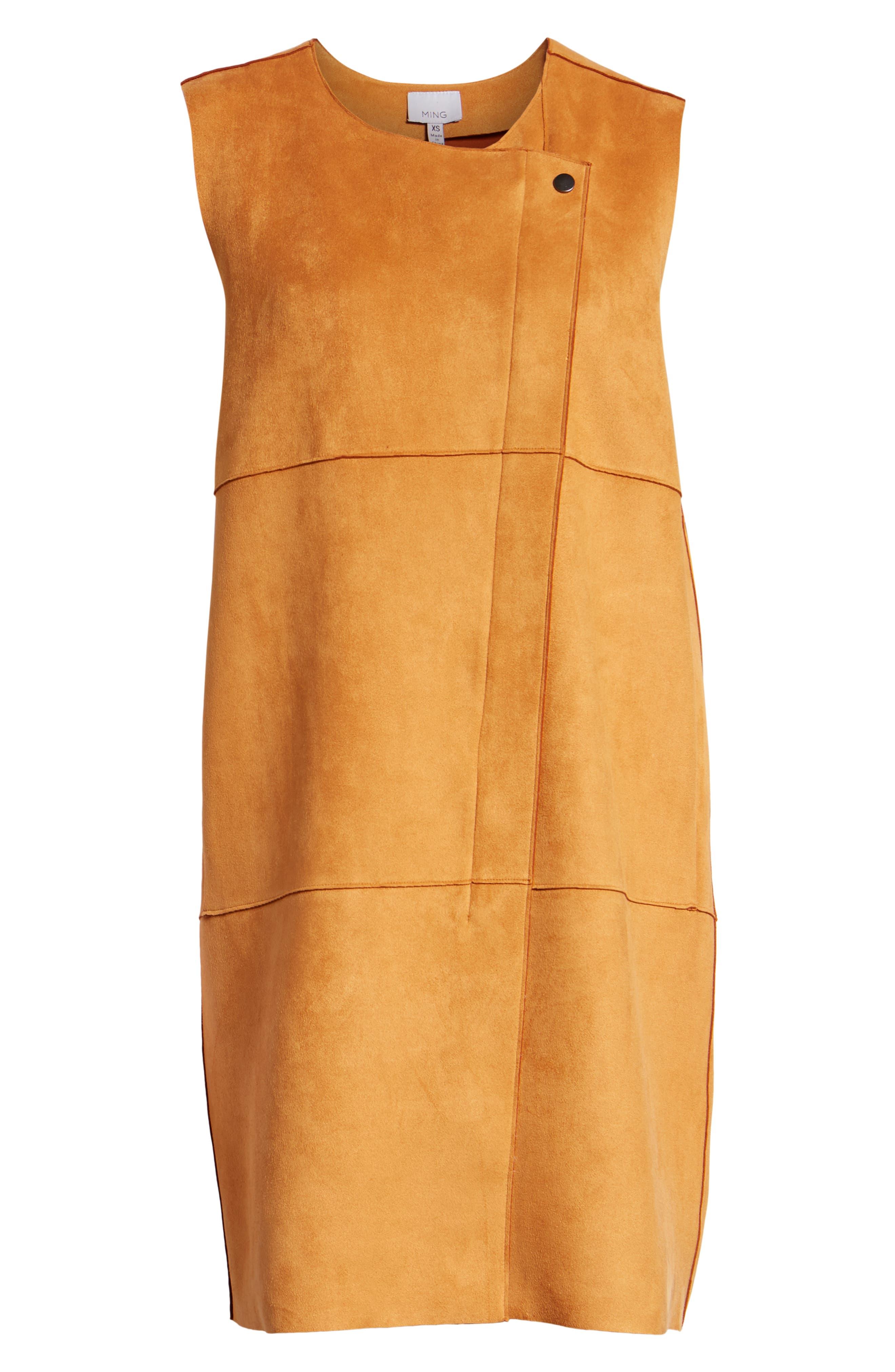 Asymmetrical Faux Suede Vest,                             Alternate thumbnail 6, color,                             COGNAC