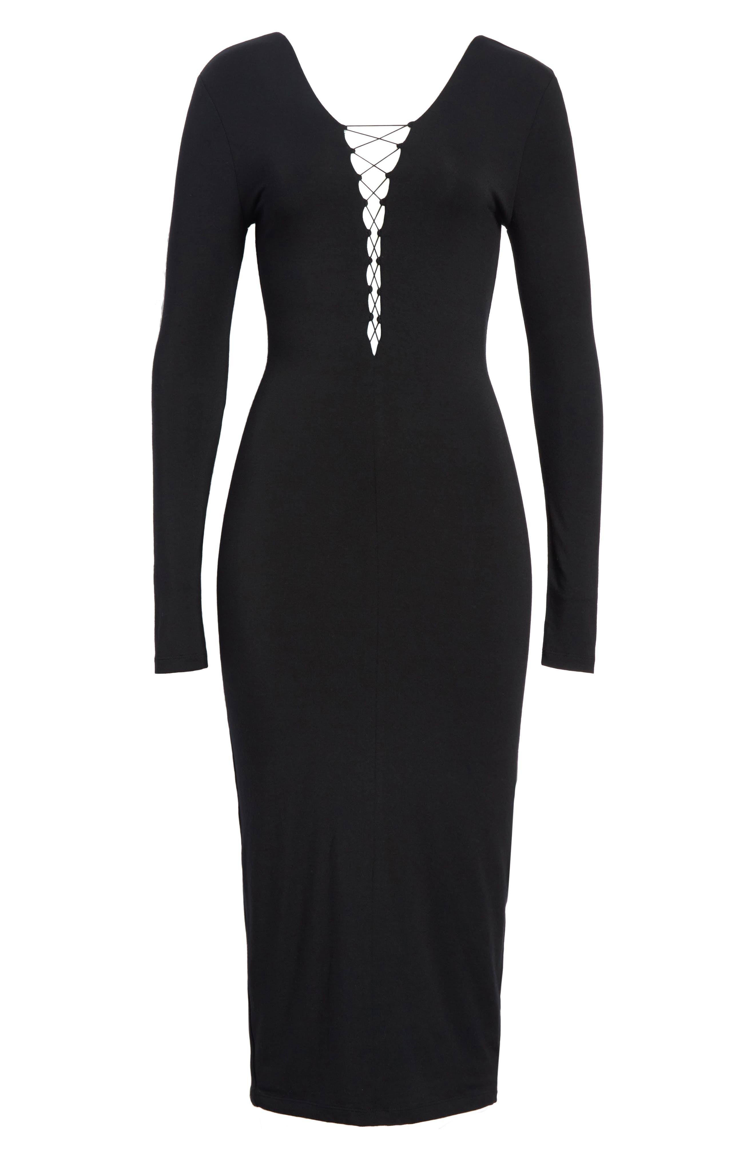 Lace-Up Stretch Jersey Midi Dress,                             Alternate thumbnail 6, color,                             001