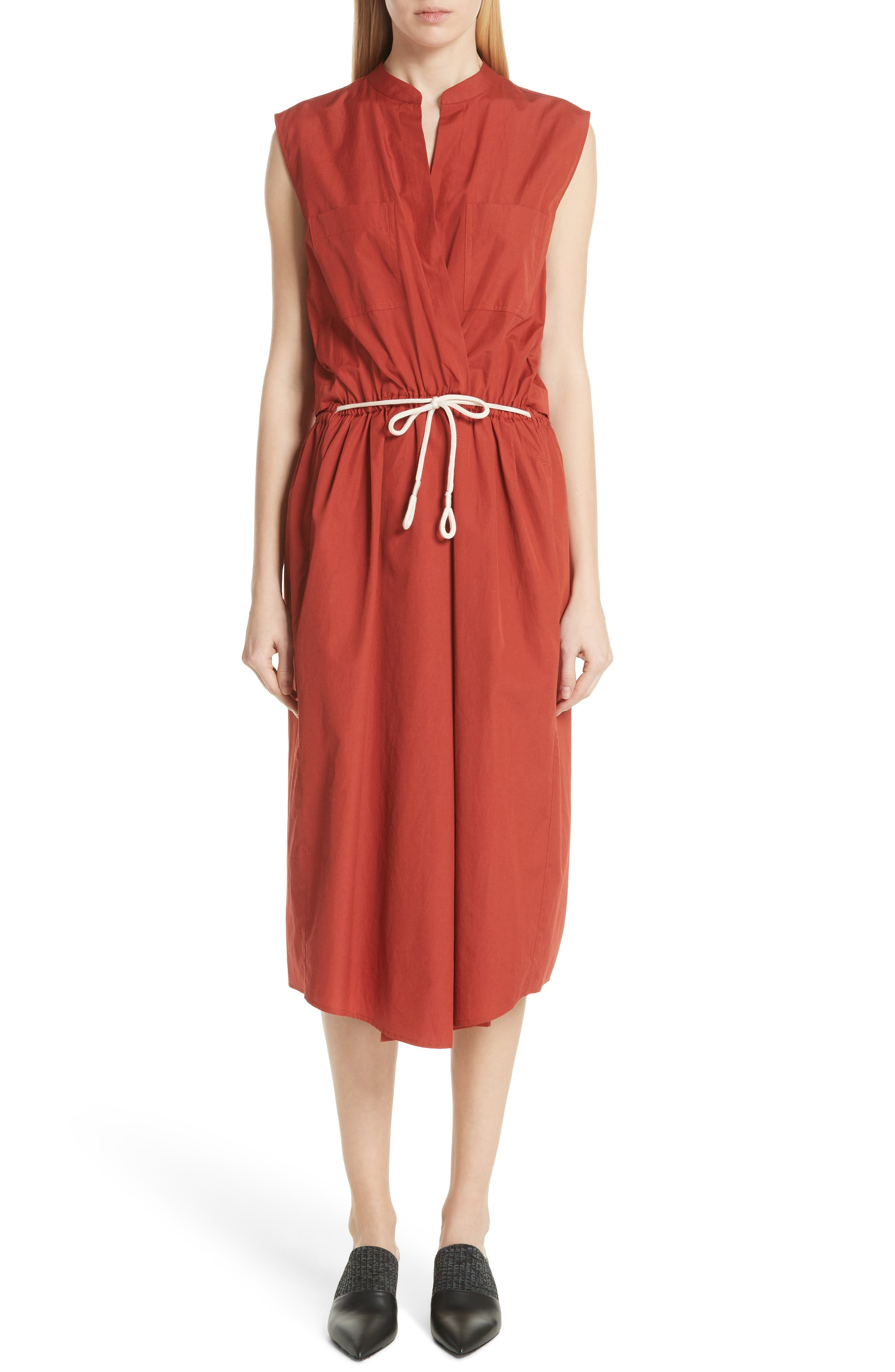 Back Cutout Cotton Utility Dress,                             Main thumbnail 2, color,