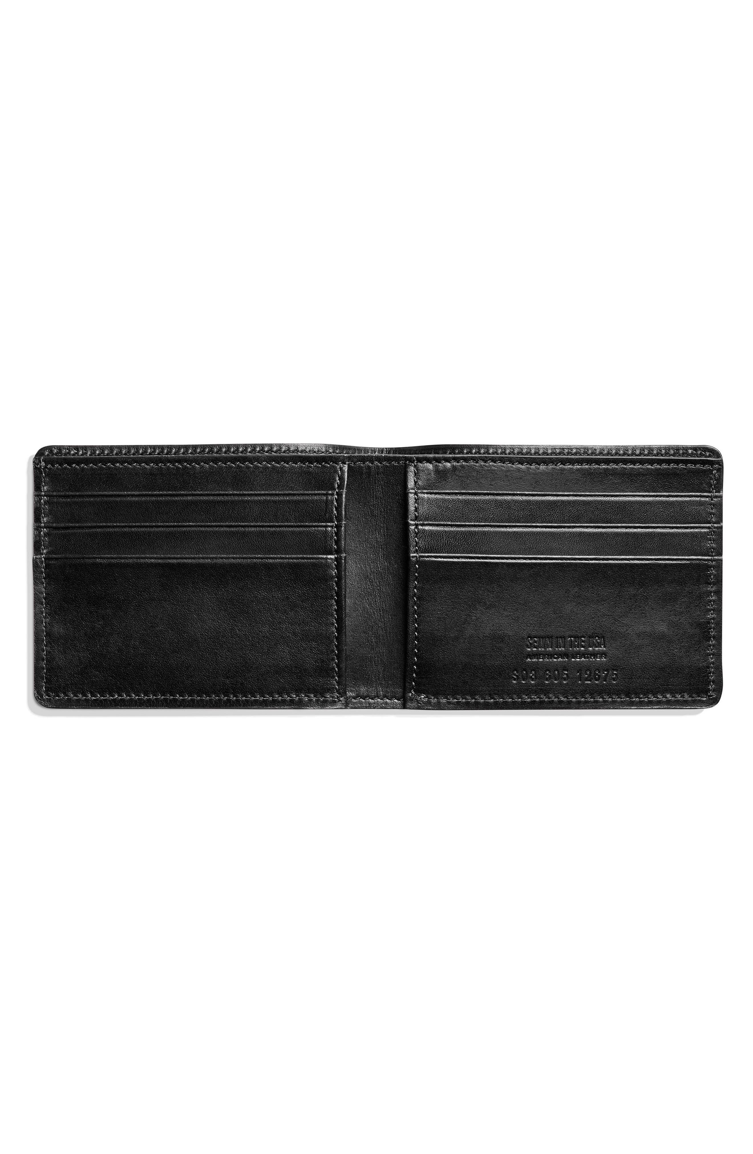 Slim Bifold 2.0 Leather Wallet,                             Alternate thumbnail 3, color,                             BLACK