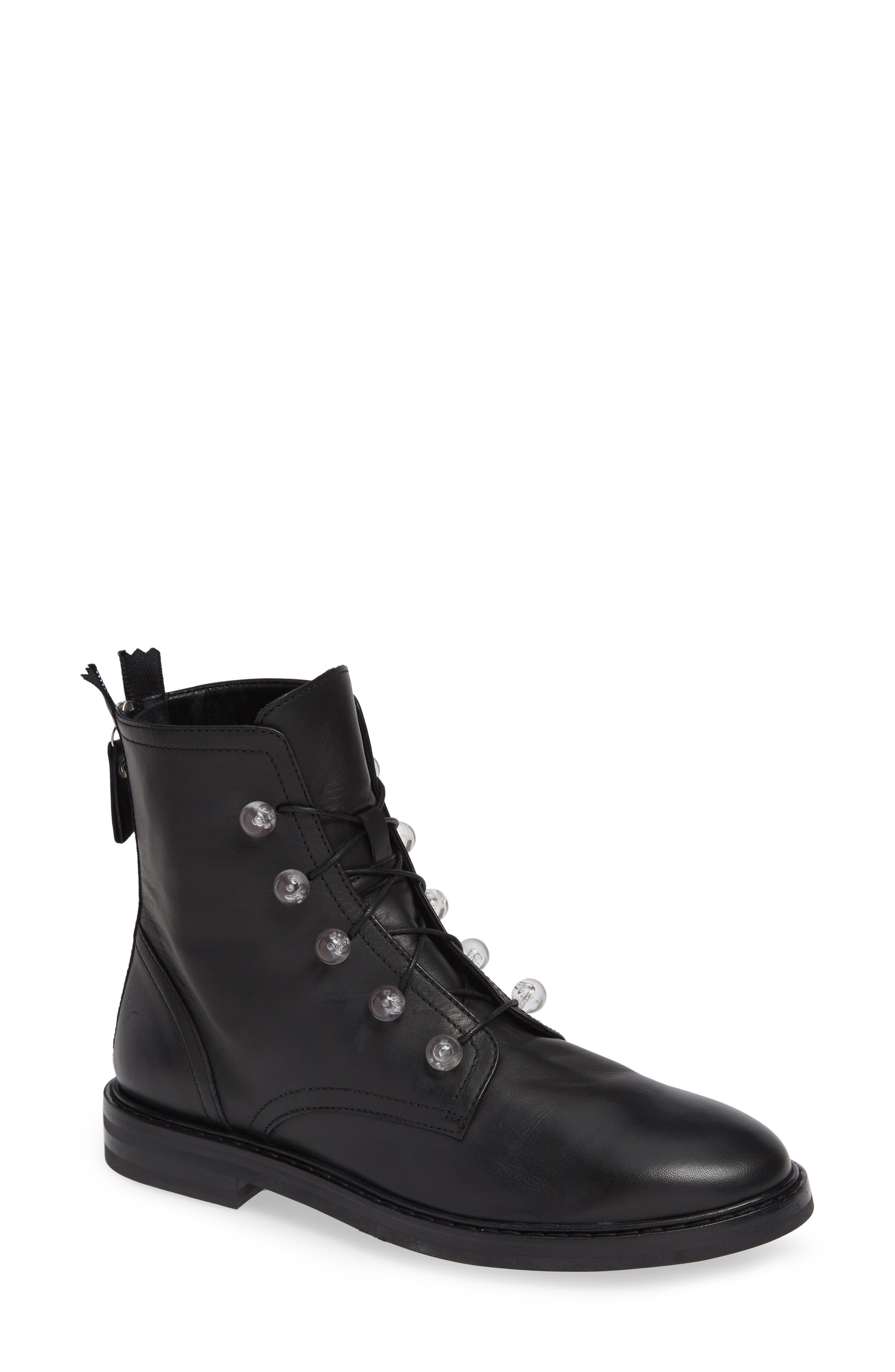 AGL ATTILIO GIUSTI LEOMBRUNI Lucite Knob Combat Boot in Black Leather