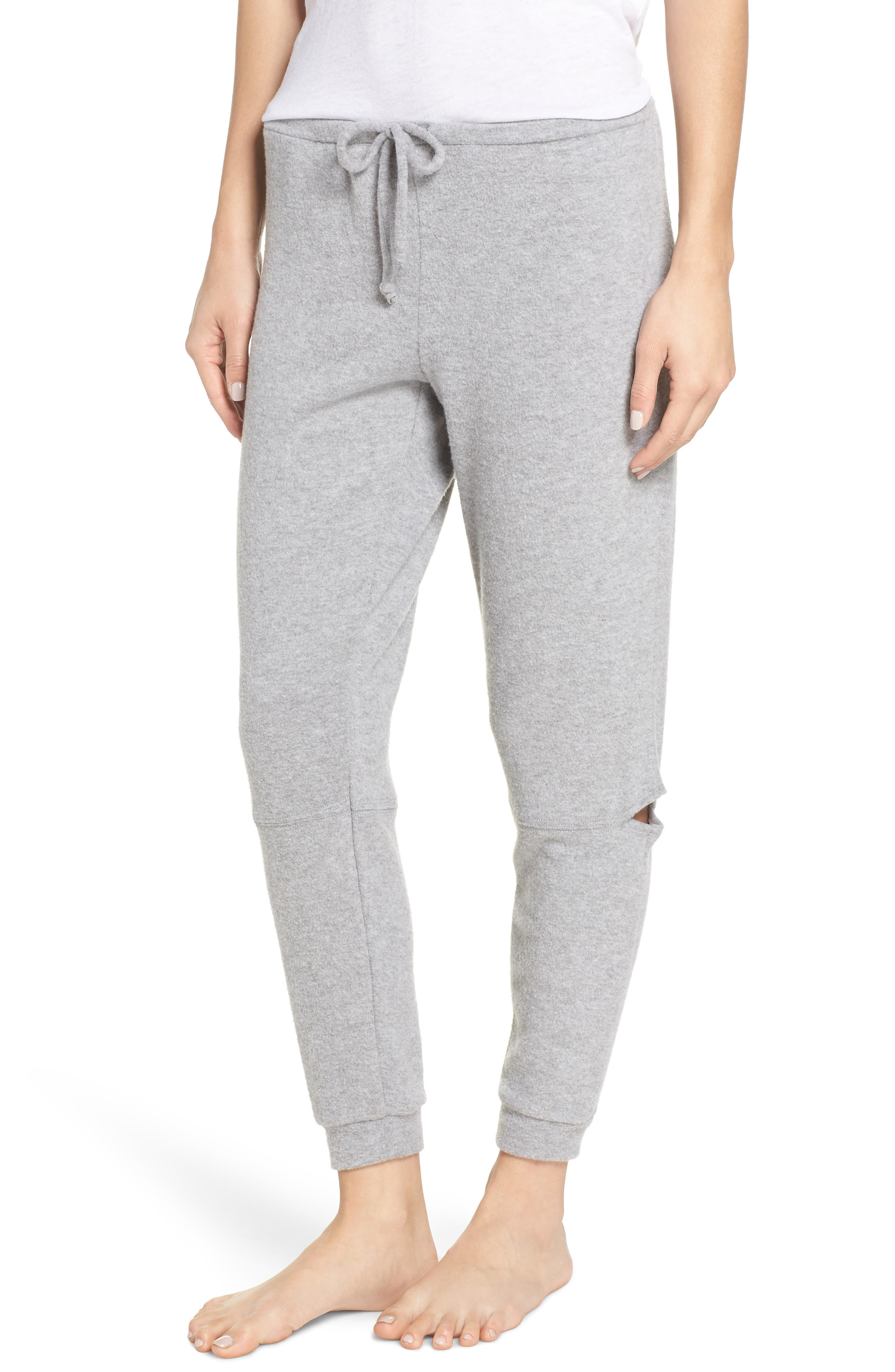 CHASER Love Side Slit Knit Jogger Pants in Heather Grey