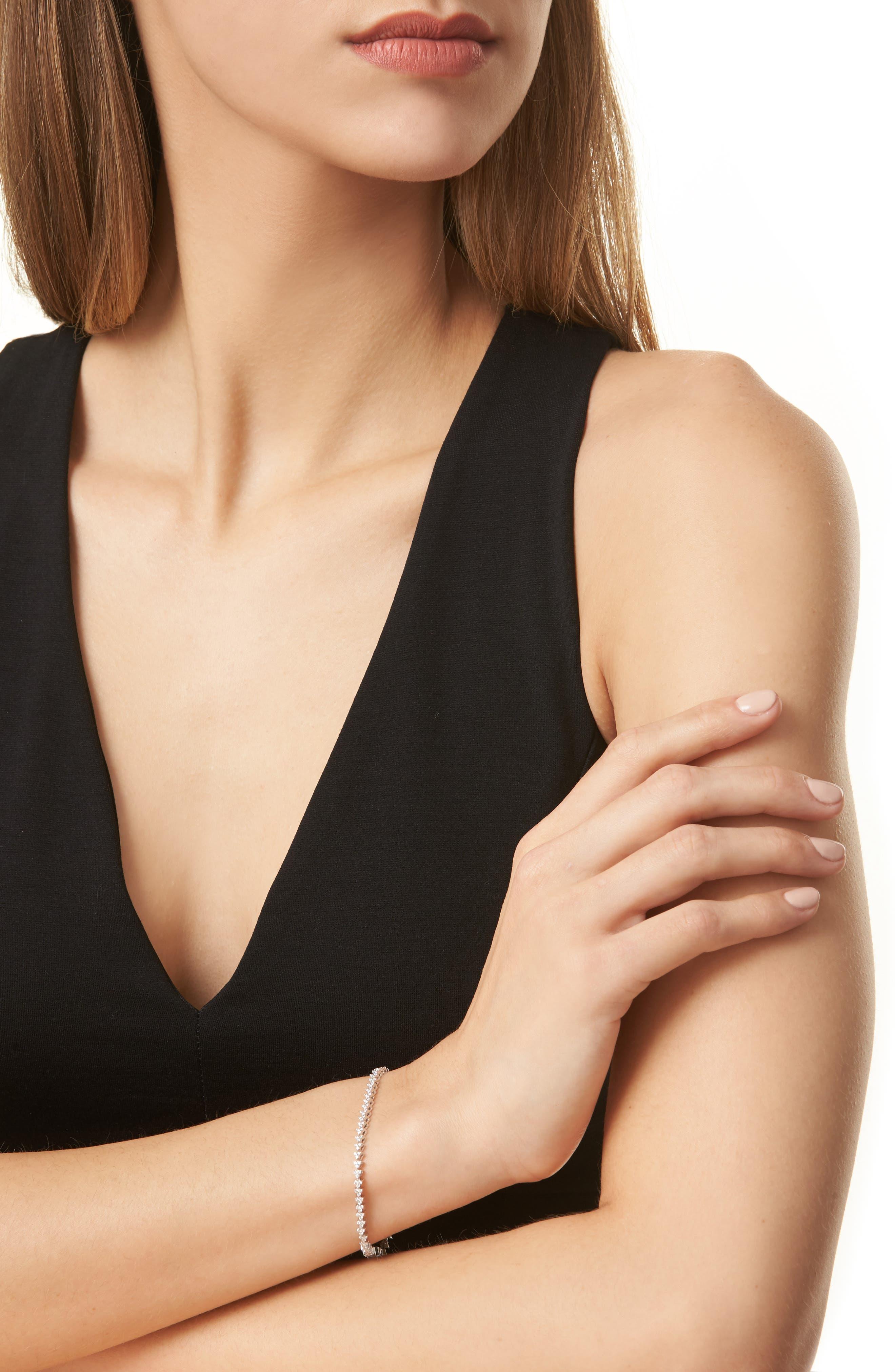 Liora Diamond Tennis Bracelet,                             Alternate thumbnail 2, color,                             WHITE GOLD