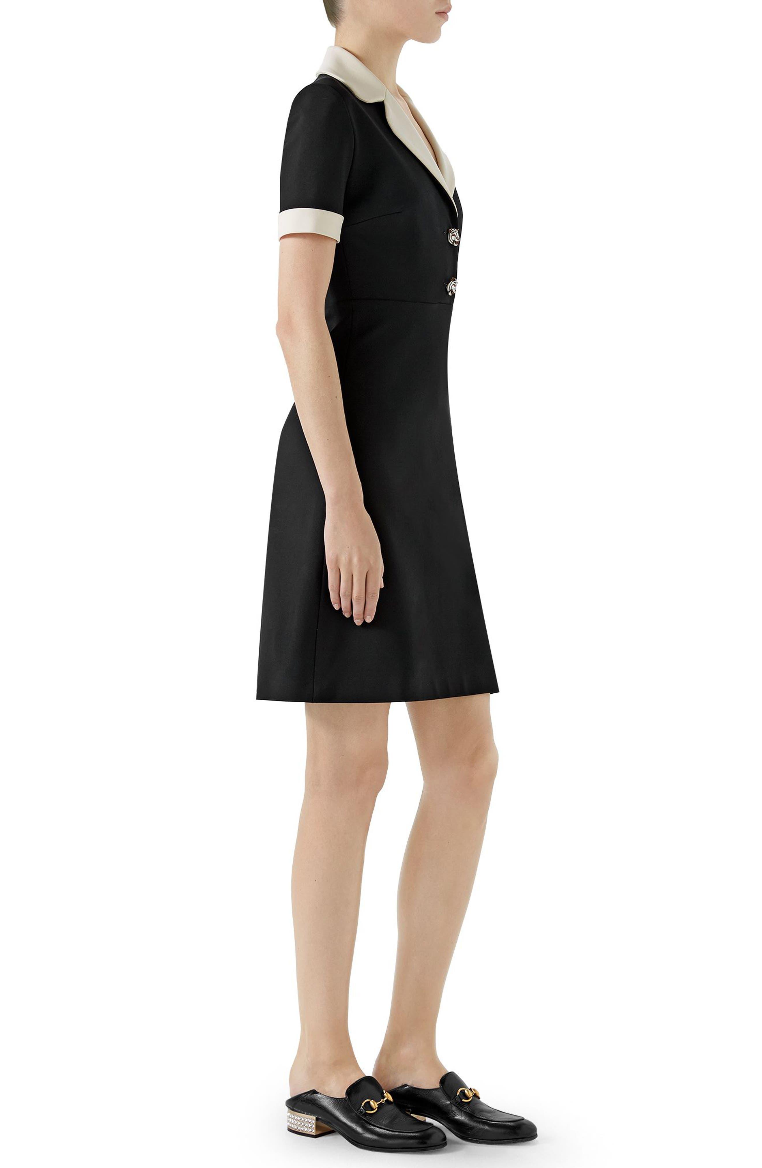 Tiger Button Contrast Trim Jersey Dress,                             Alternate thumbnail 3, color,                             BLACK/ ALMOND FLOWER