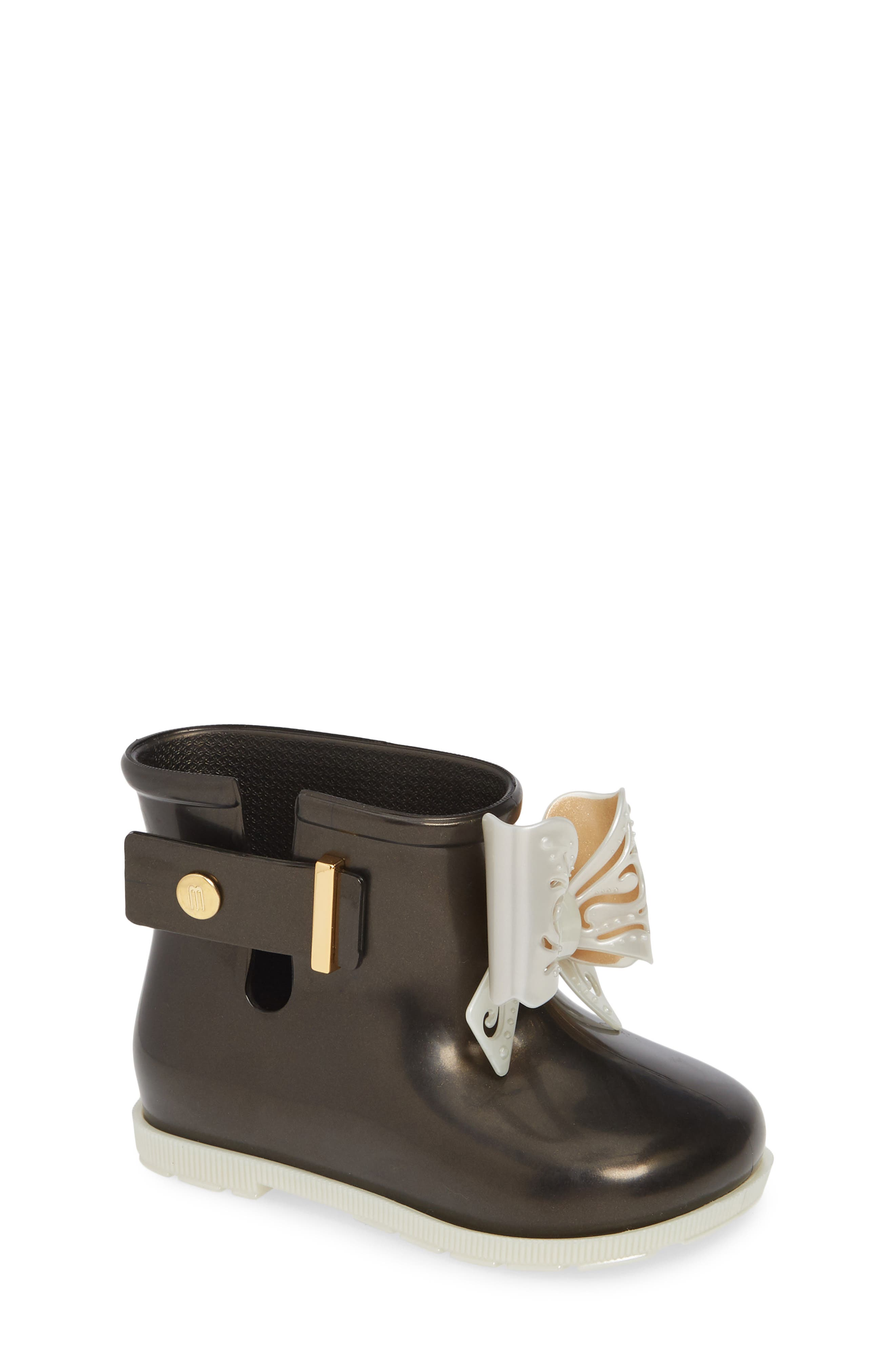 Mini Sugar Rain Boot,                         Main,                         color, BLACK PEARLY WHITE