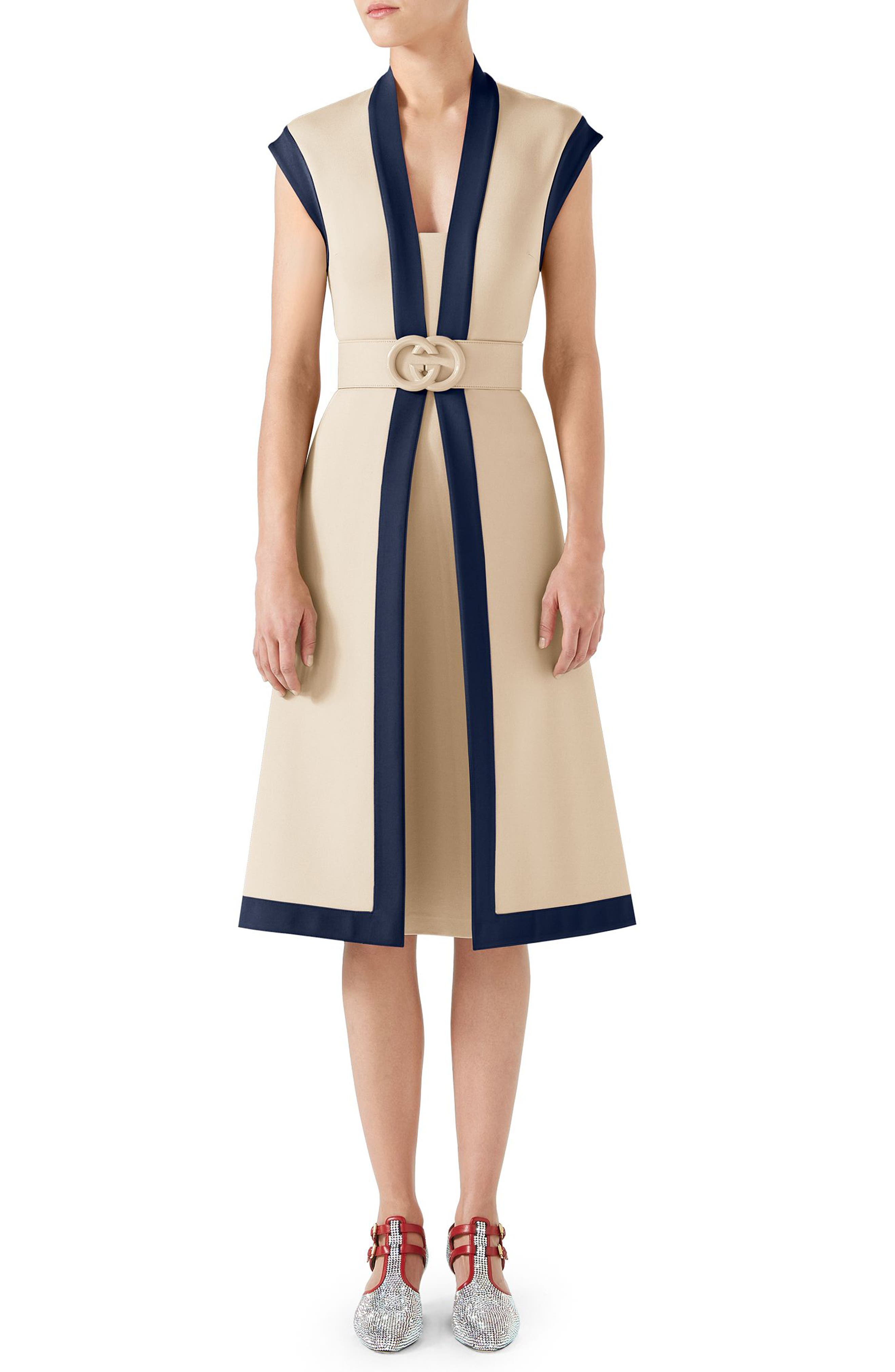 Contrast Trim Belted Dress,                         Main,                         color, ALMOND FLOWER/ ROYAL