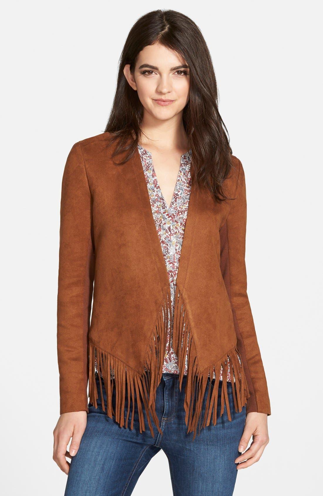 Fringe Faux Suede Jacket,                         Main,                         color, 200