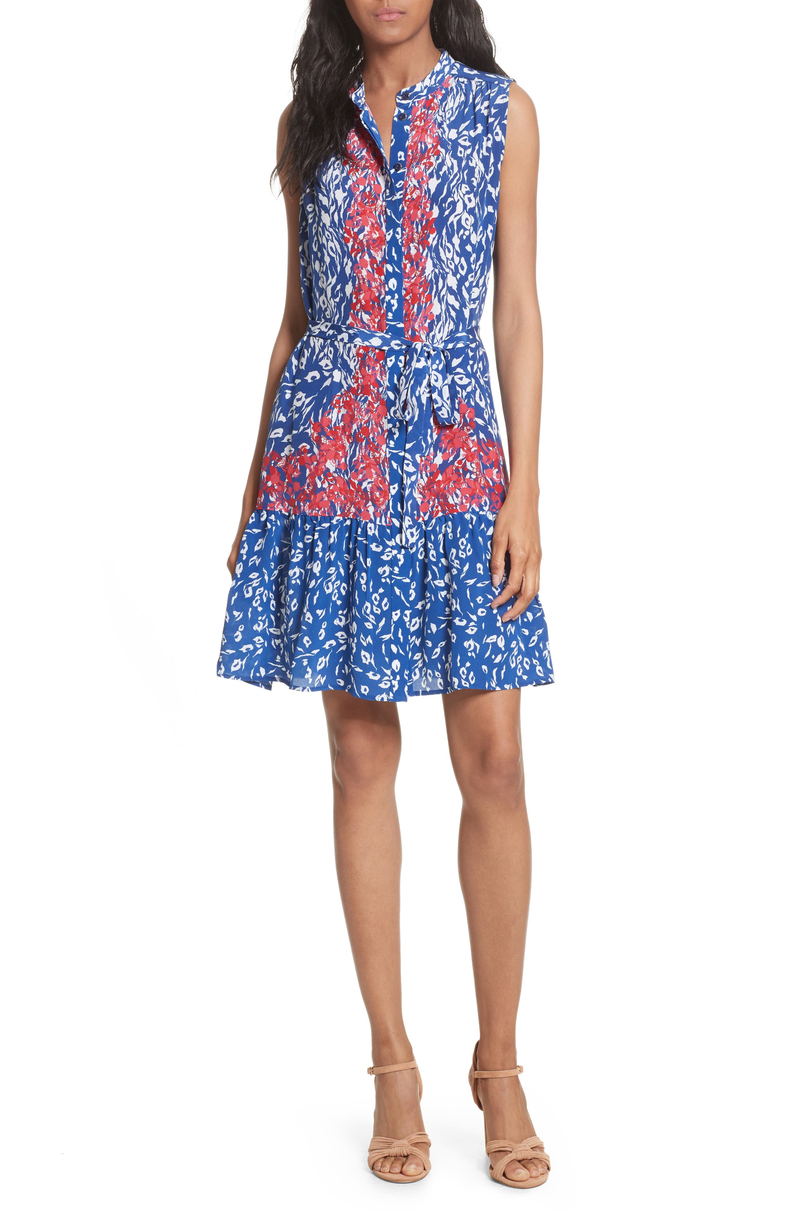 Tilly Print Silk Fit & Flare Dress,                         Main,                         color, 416