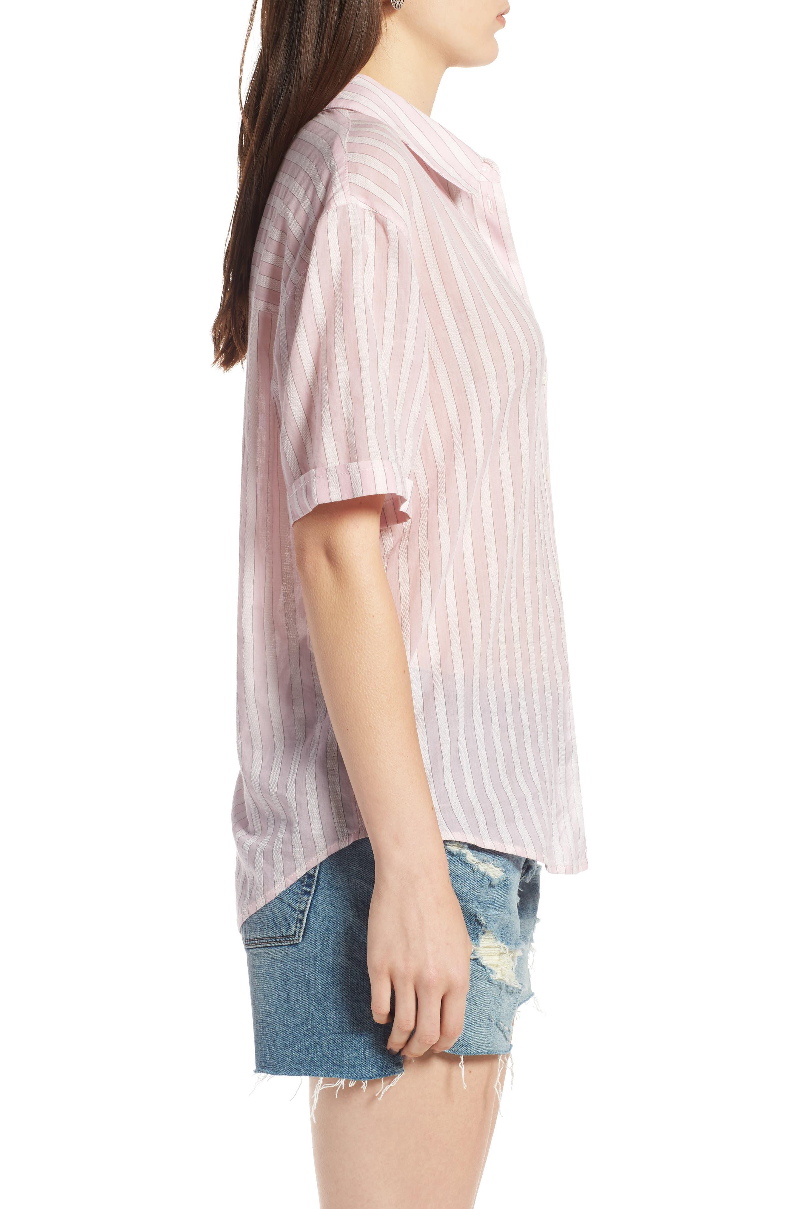 Stripe Shirt,                             Alternate thumbnail 3, color,                             PINK OPAL TAILOR STRIPE