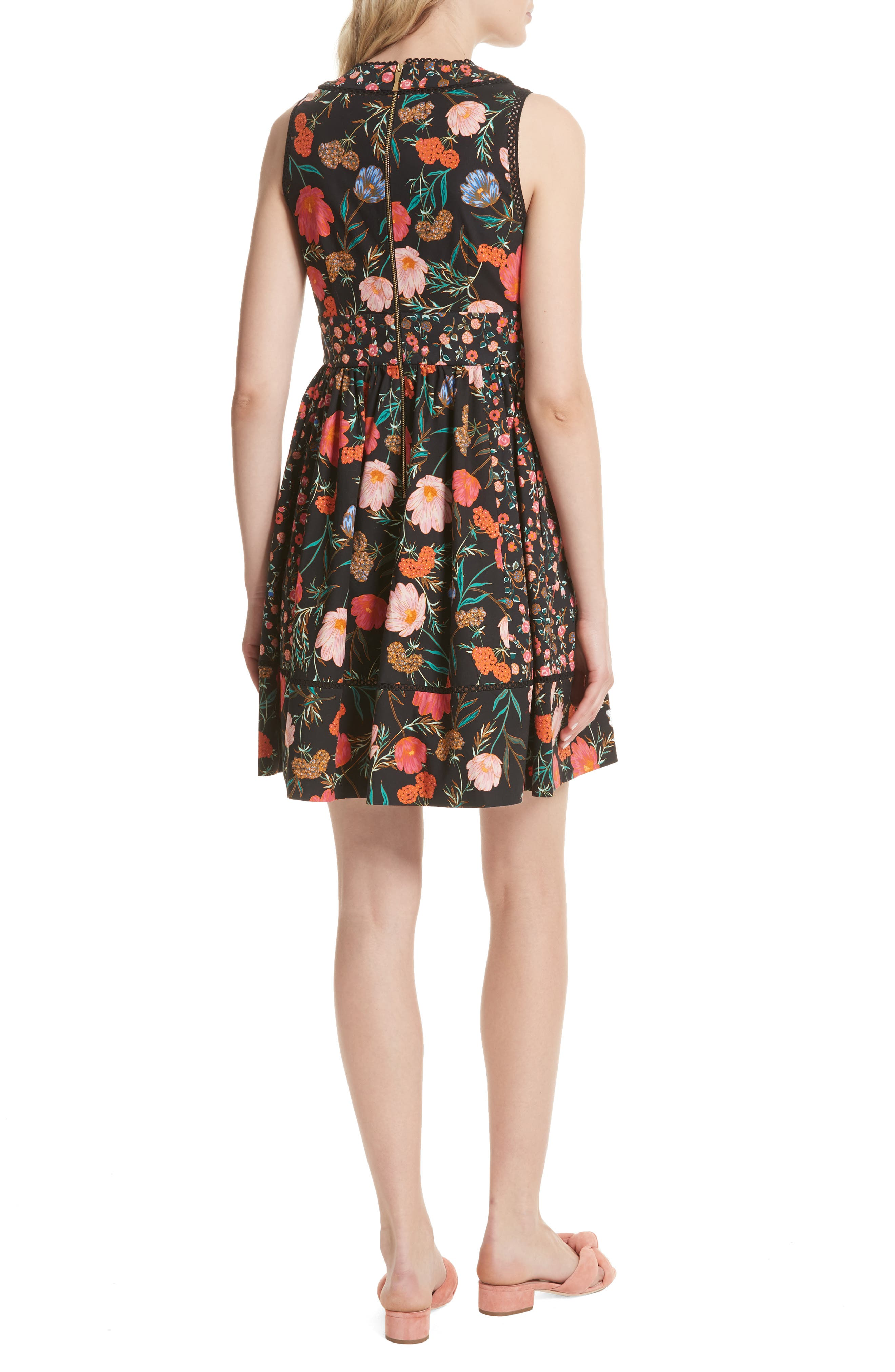blossom sleeveless fit & flare dress,                             Alternate thumbnail 2, color,                             001