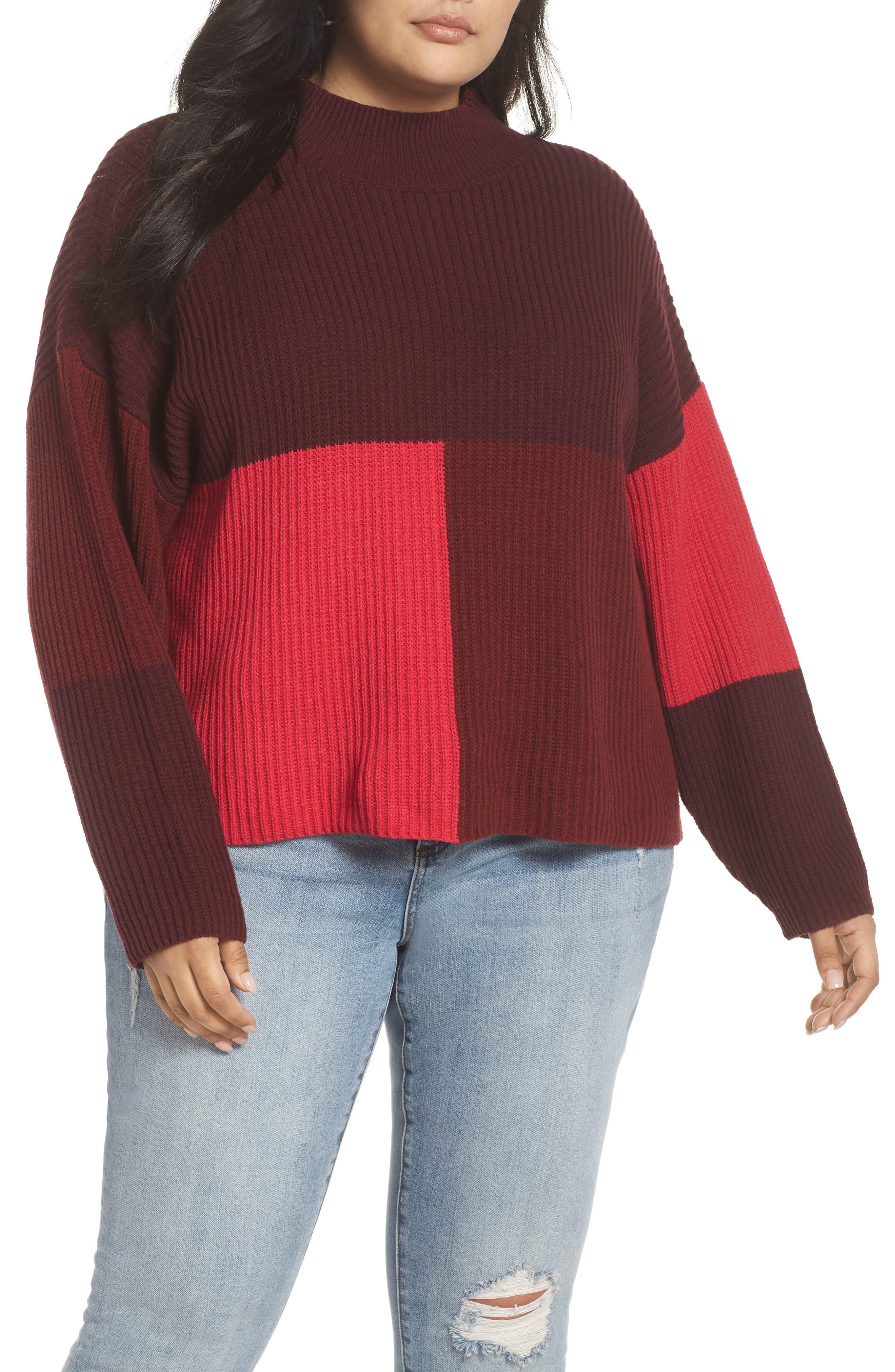 Mock Neck Colorblock Sweater,                         Main,                         color, RED RUMBA COLORBLOCK