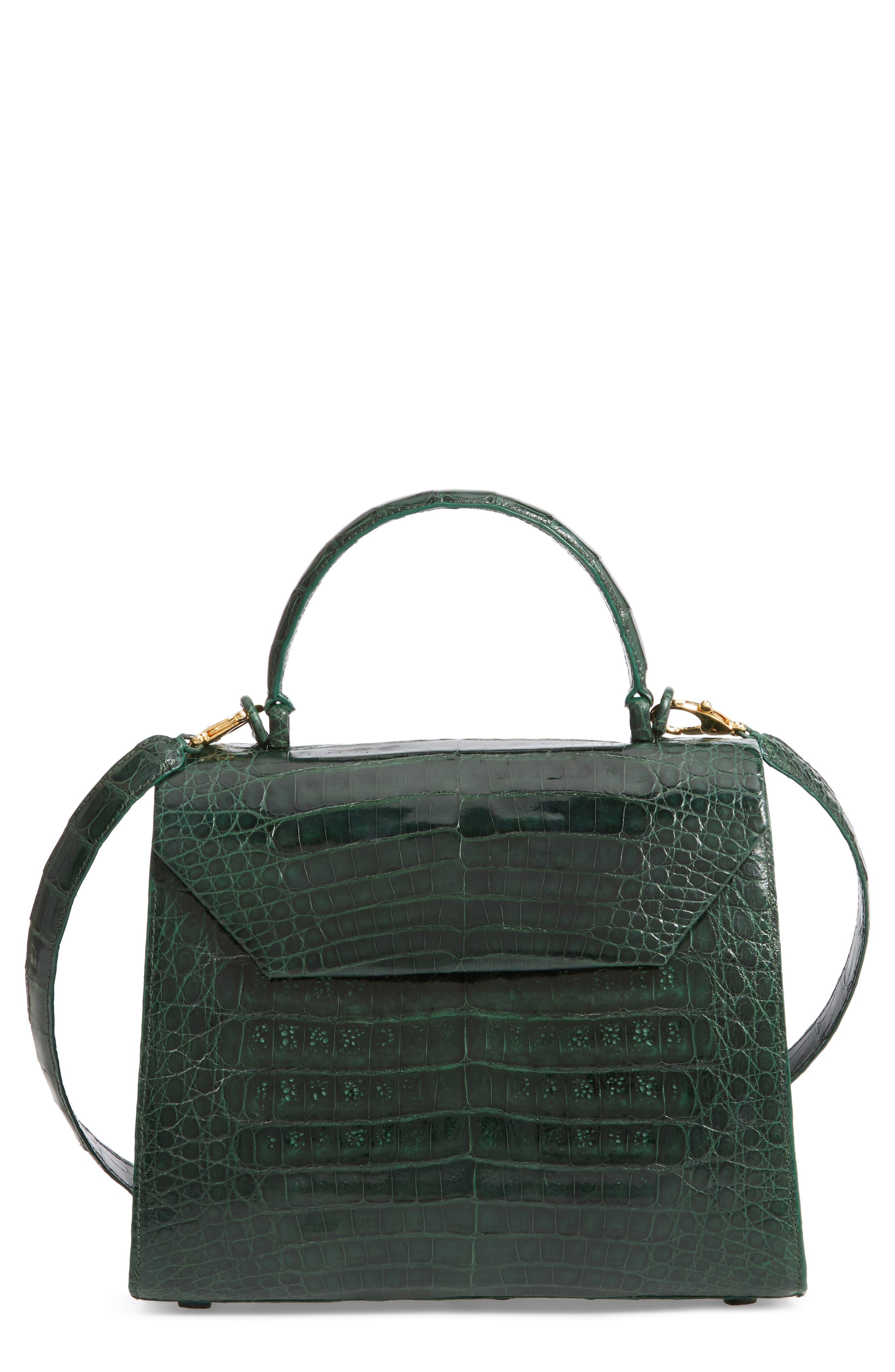 Medium Lily Genuine Crocodile Crossbody Bag - Green in Kelly Green Shiny