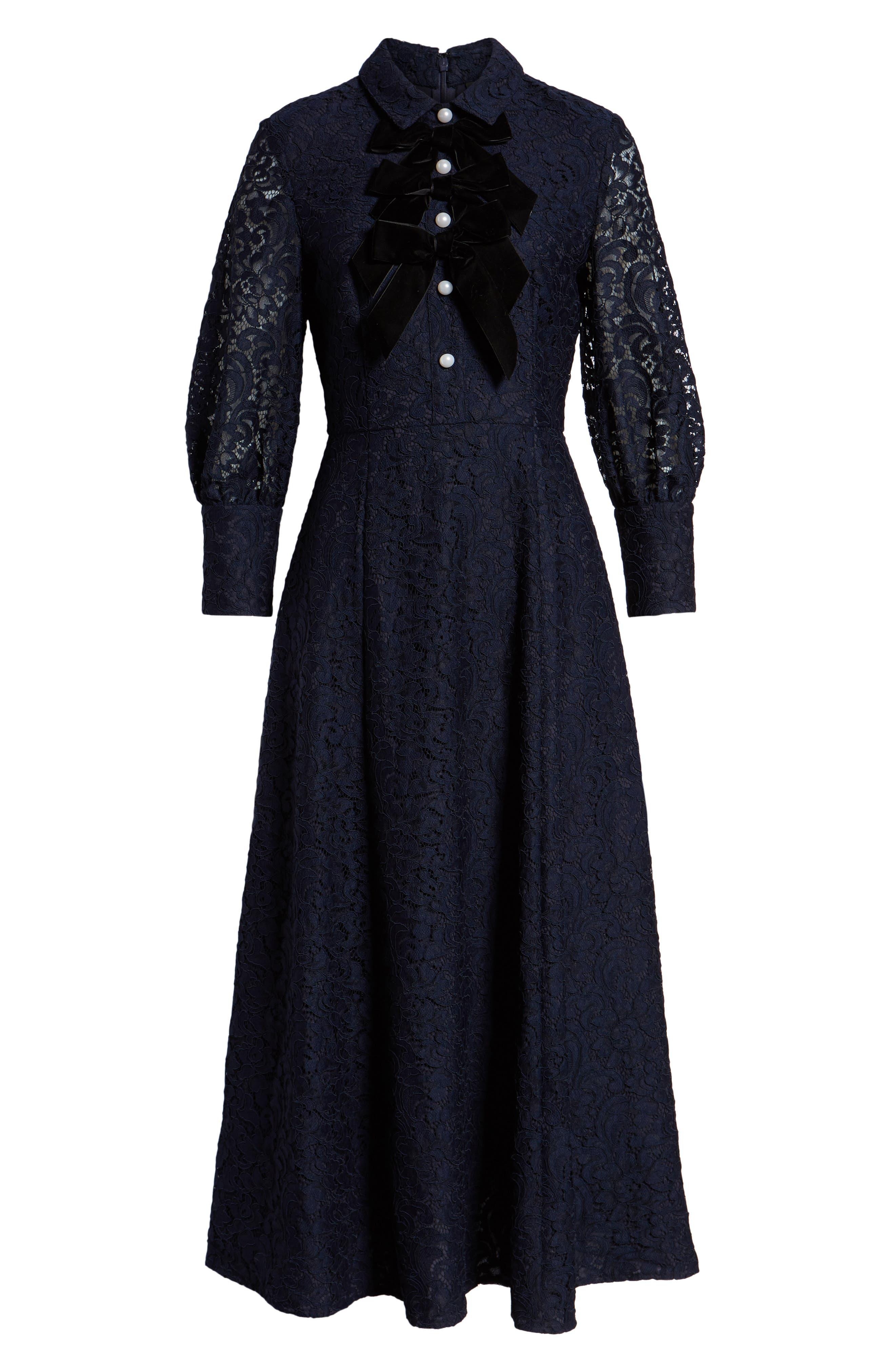 x Atlantic-Pacific Bow Detail Lace Midi Dress,                             Alternate thumbnail 7, color,                             NAVY