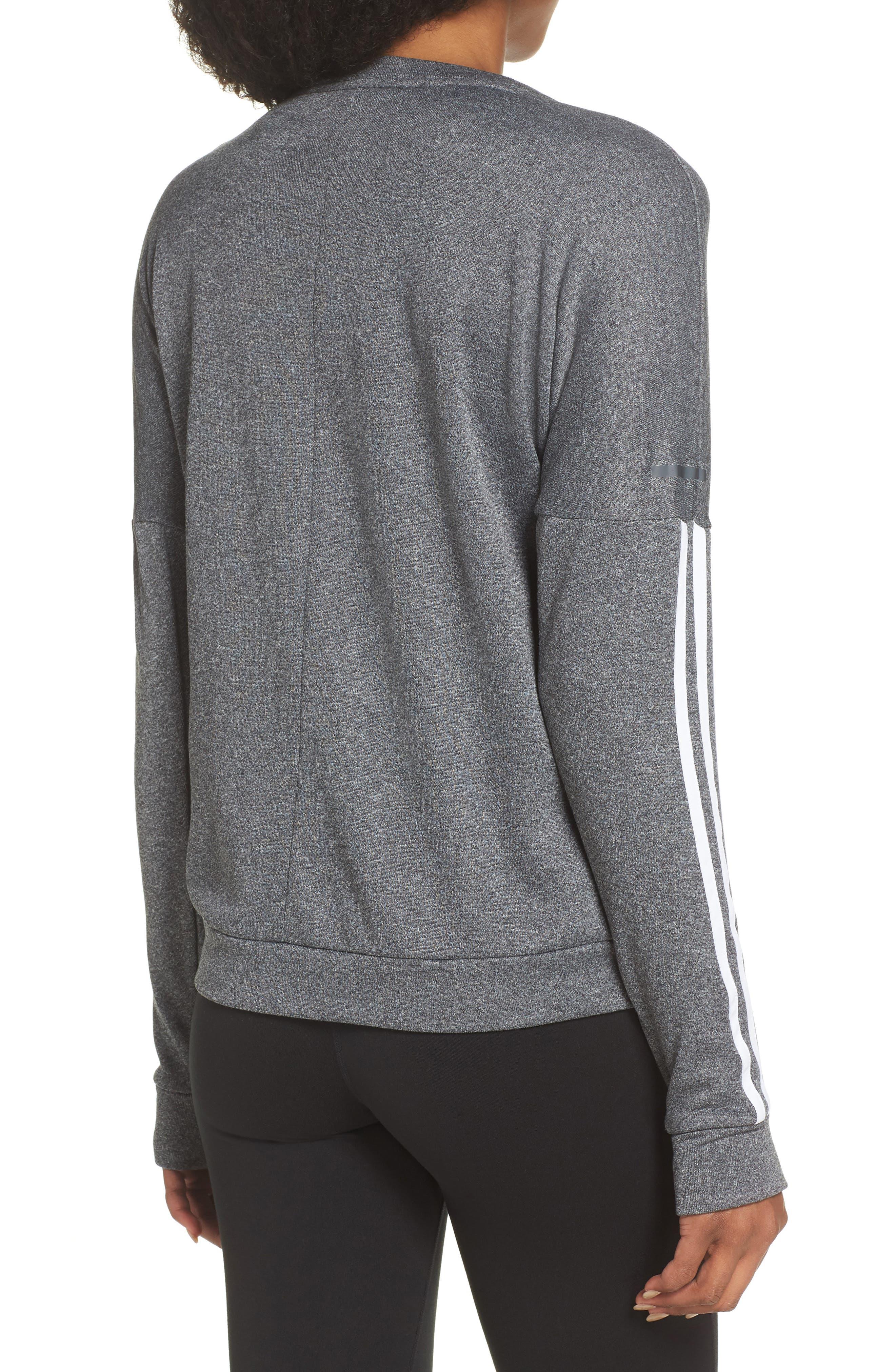 3-Stripes Running Sweatshirt,                             Alternate thumbnail 2, color,                             DARK GREY HEATHER