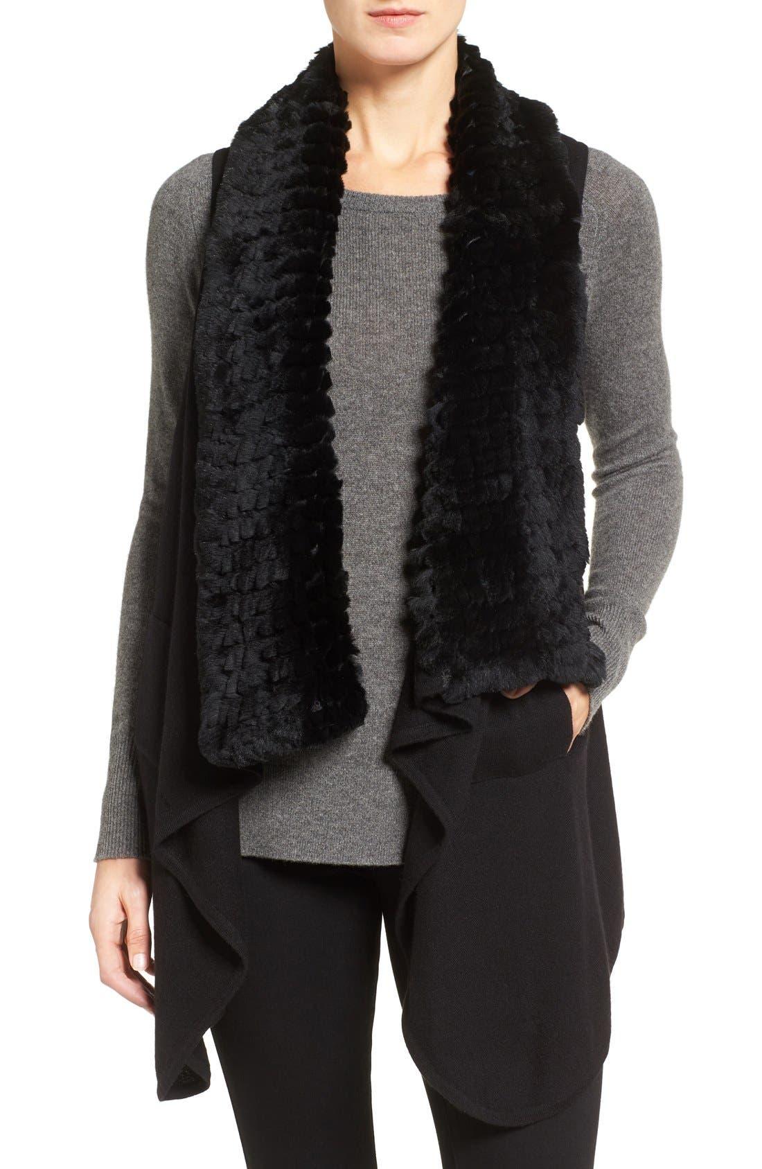 Cashmere Drape Vest with Genuine Rex Rabbit Fur Trim,                         Main,                         color,
