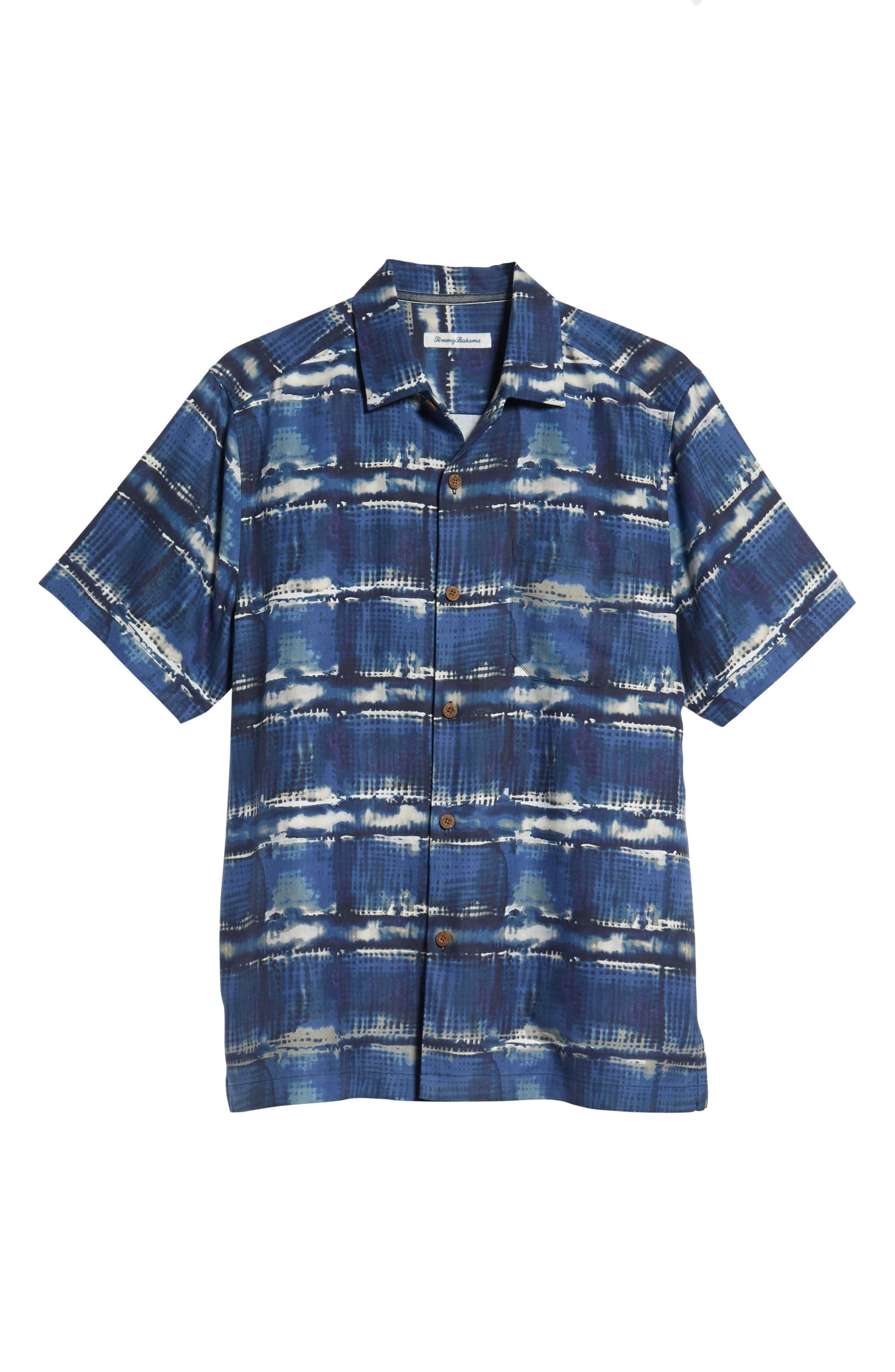 Tie Dye For Silk Camp Shirt,                             Alternate thumbnail 6, color,                             BLUE JEAN