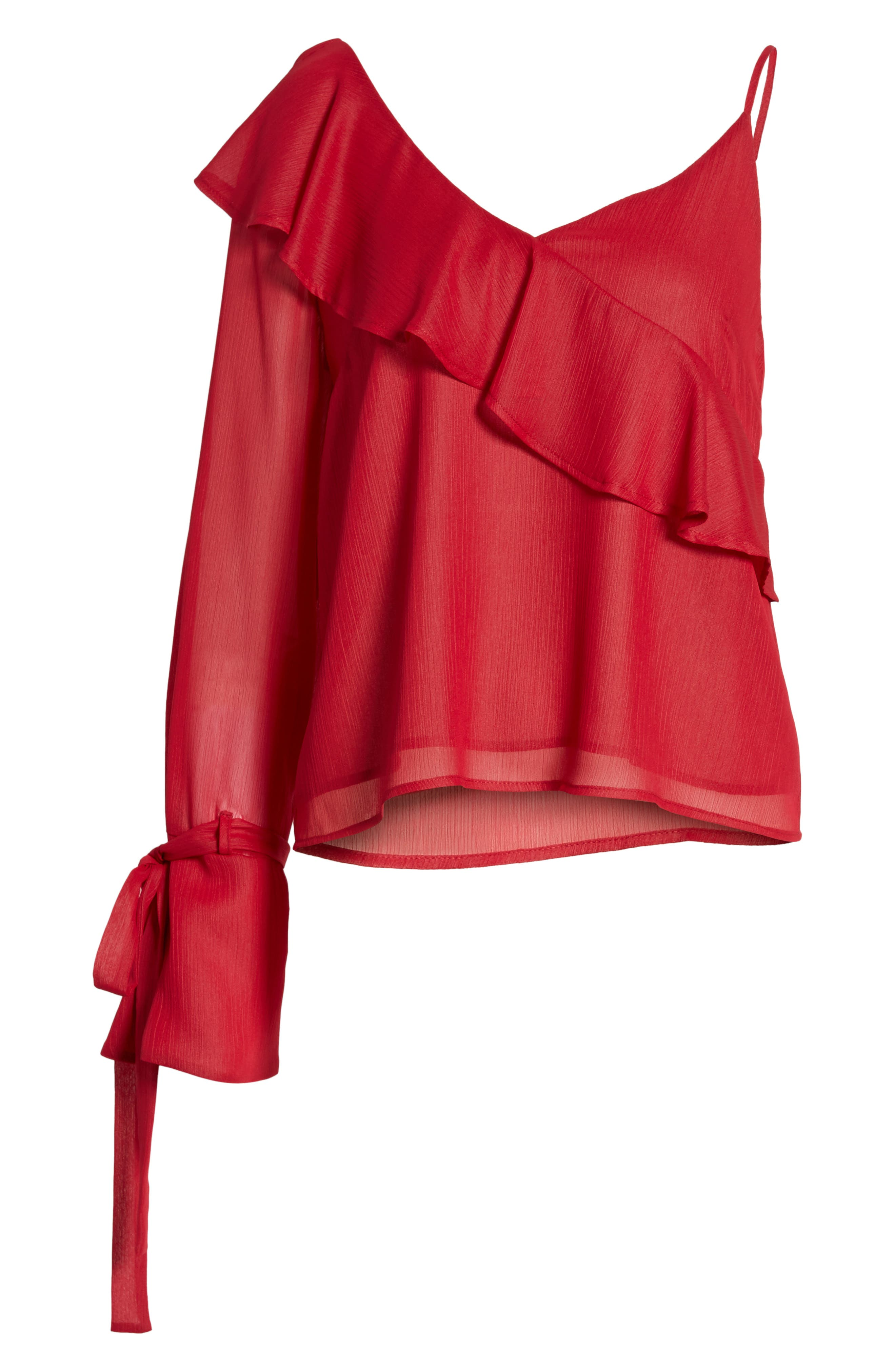 Ruffle One-Shoulder Blouse,                             Alternate thumbnail 12, color,
