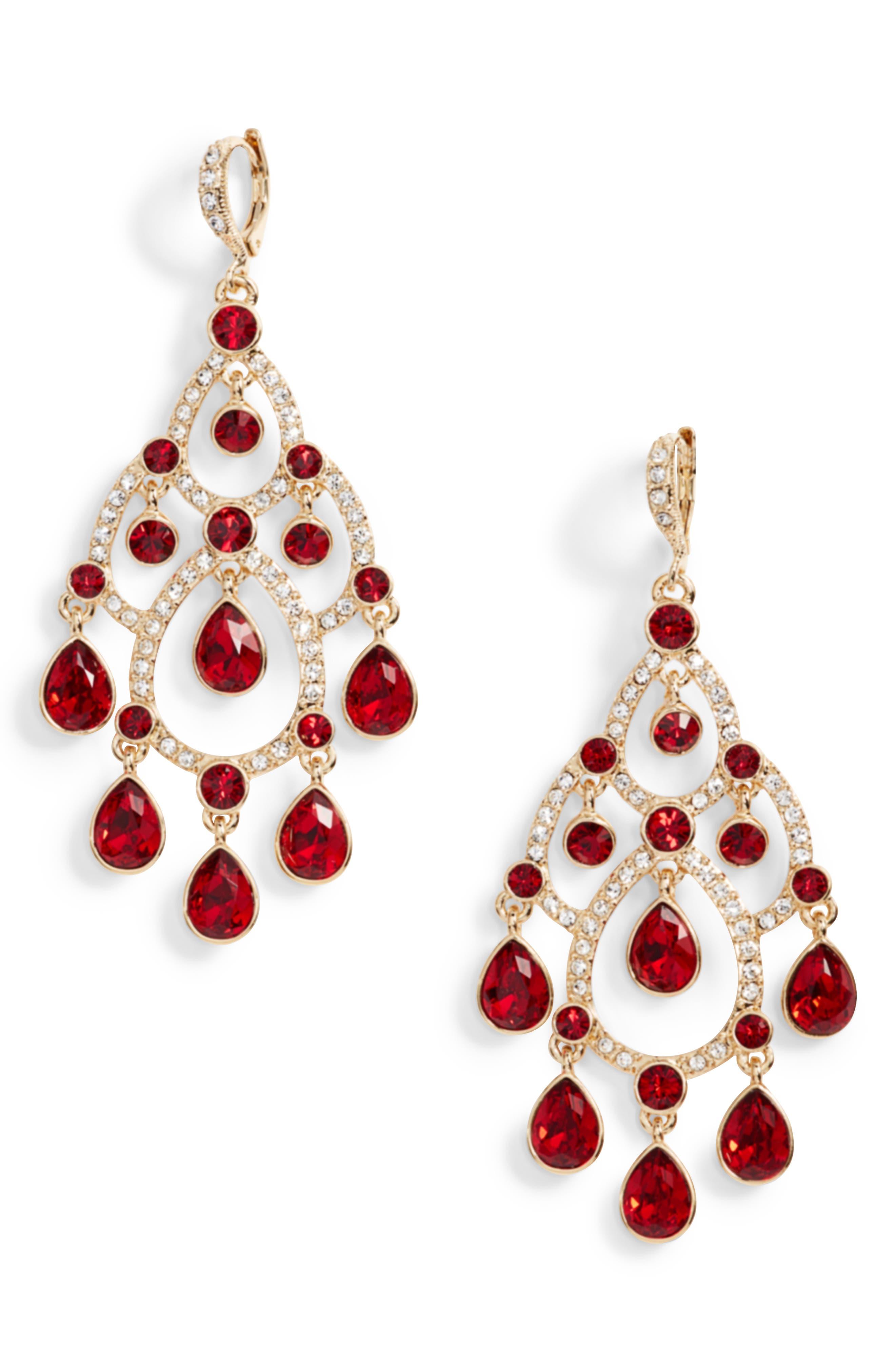 Open Crystal Chandelier Earrings,                             Main thumbnail 2, color,