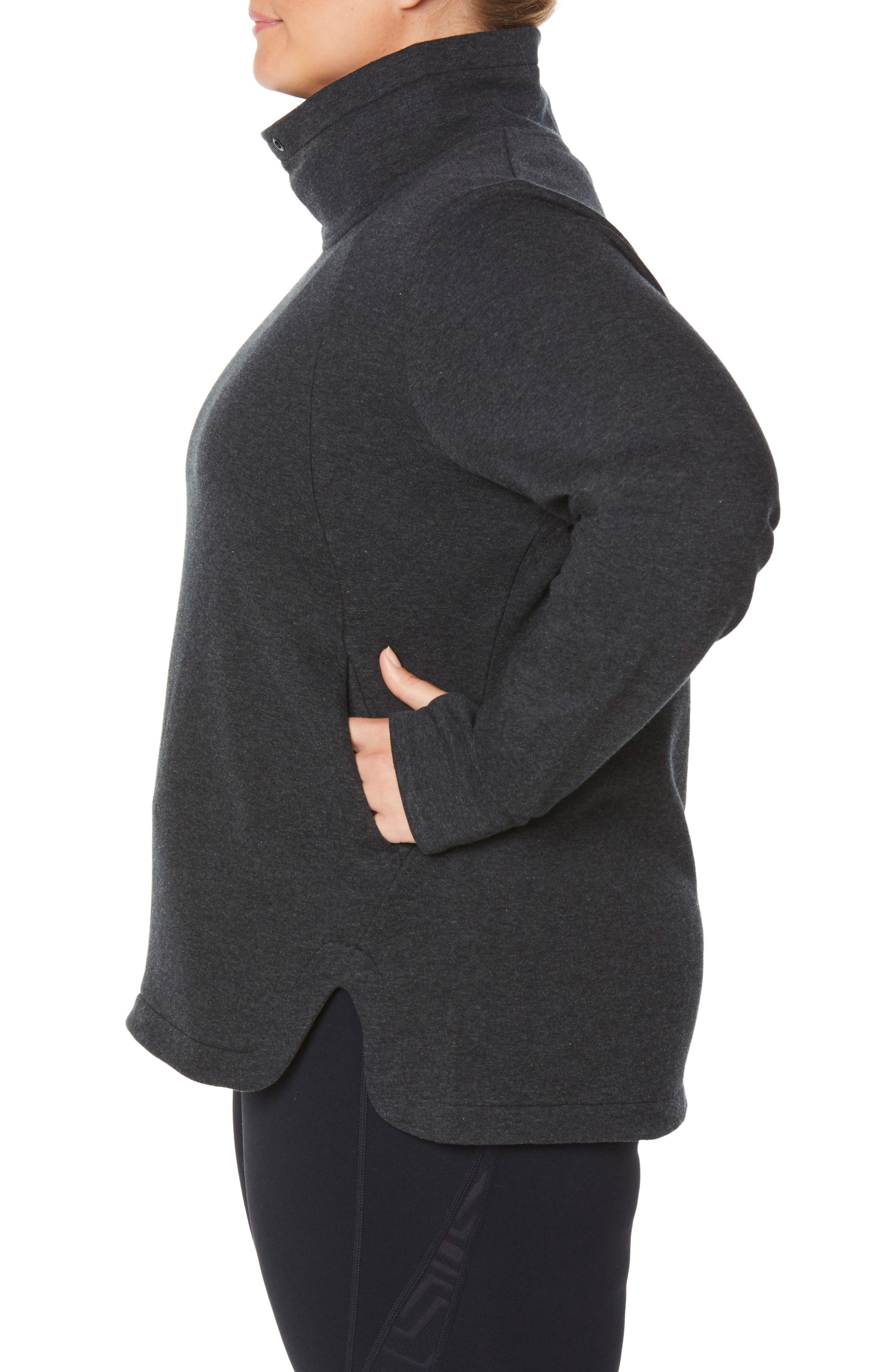 Saturday Mock Neck Pullover,                             Alternate thumbnail 3, color,                             CHARCOAL BLACK