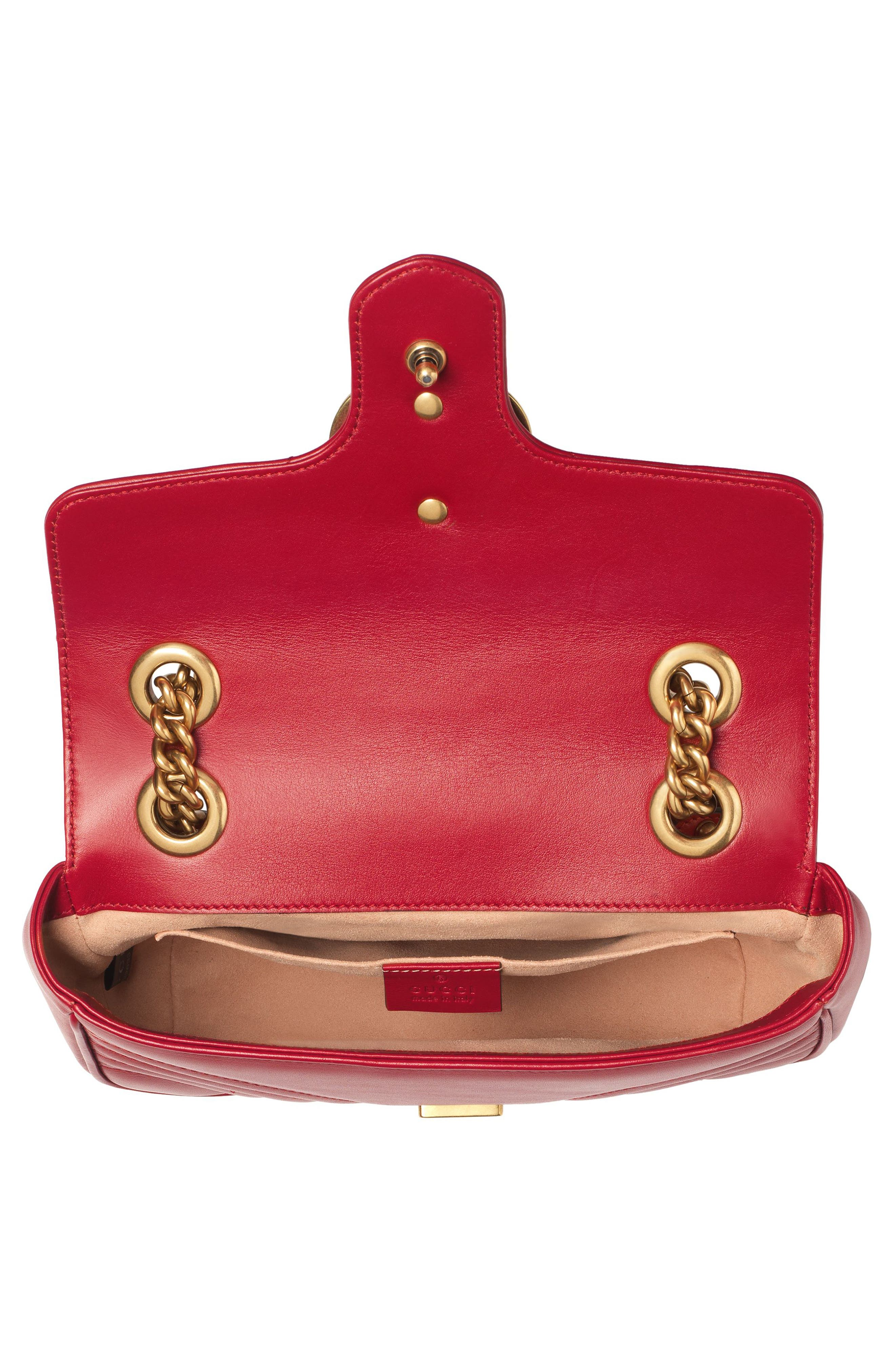 Mini GG Marmont 2.0 Matelassé Leather Shoulder Bag,                             Alternate thumbnail 4, color,                             HIBISCUS RED