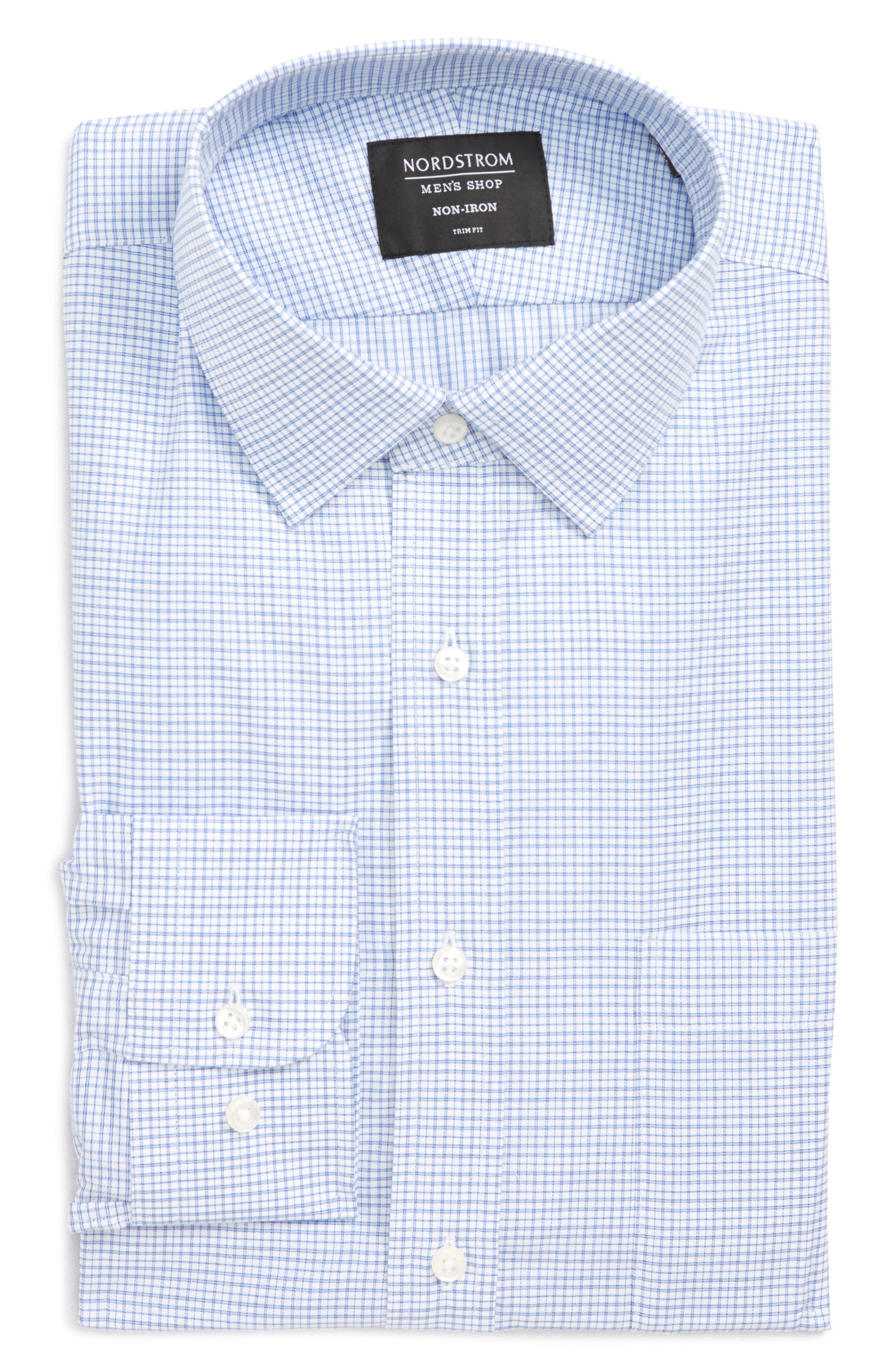 Trim Fit Check Dress Shirt,                             Alternate thumbnail 9, color,