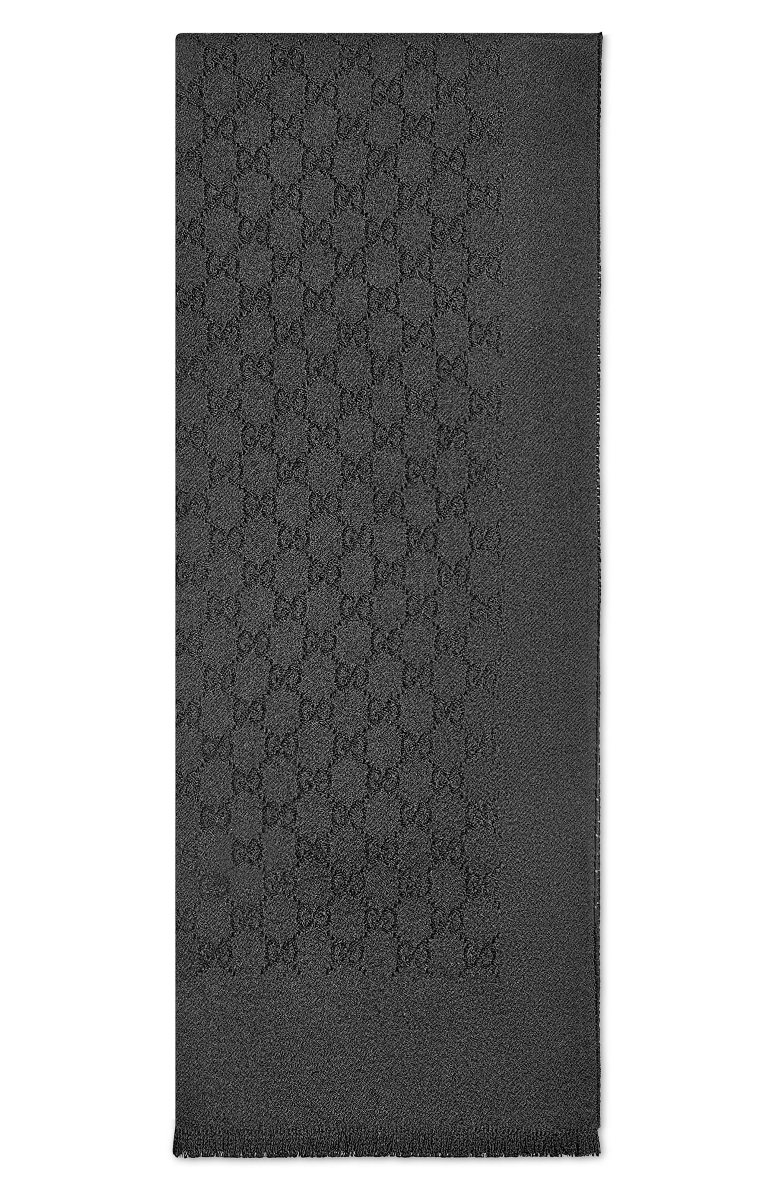 GG Gem Lux Jacquard Cashmere Scarf,                         Main,                         color, 1000 BLACK