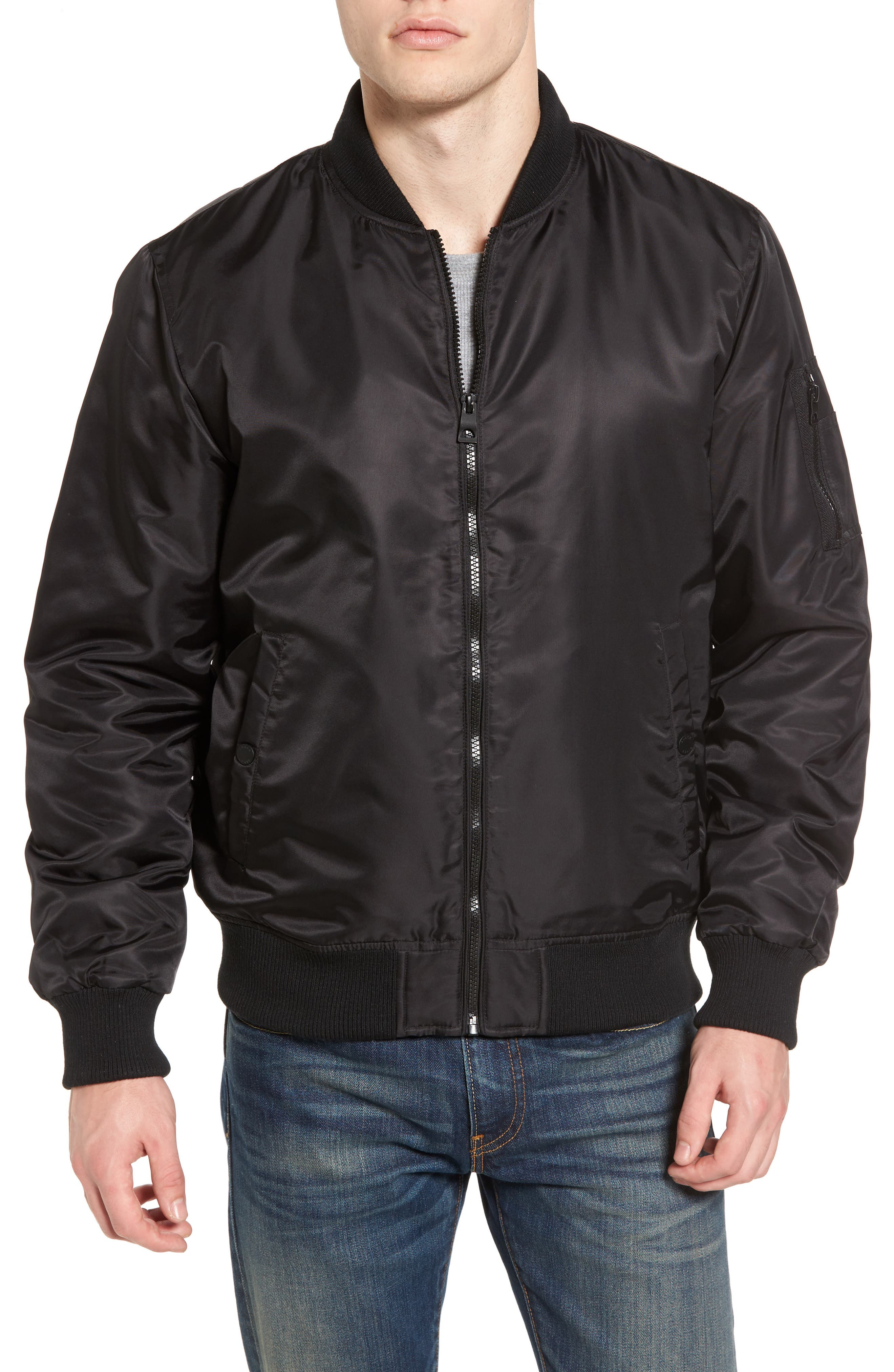 Water Resistant Hooded Satin Flight Jacket,                             Alternate thumbnail 7, color,