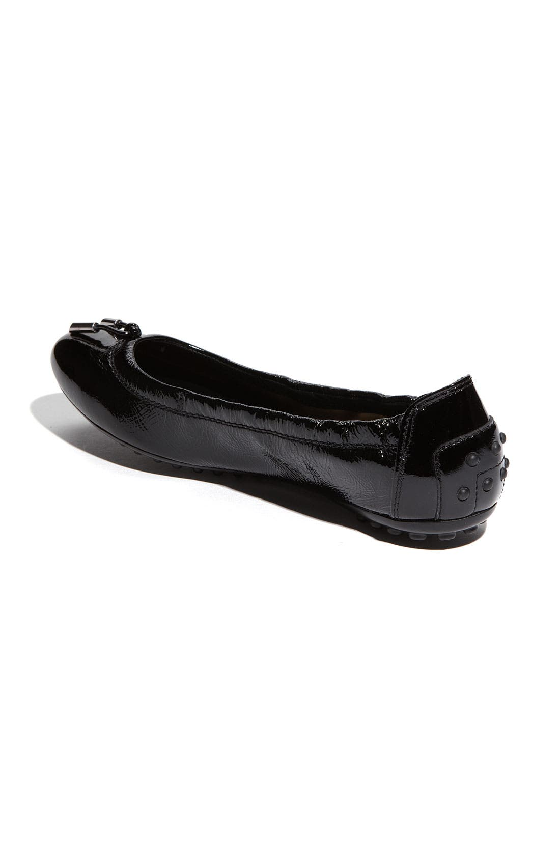 Bow Trim Patent Leather Flat,                             Alternate thumbnail 2, color,                             001