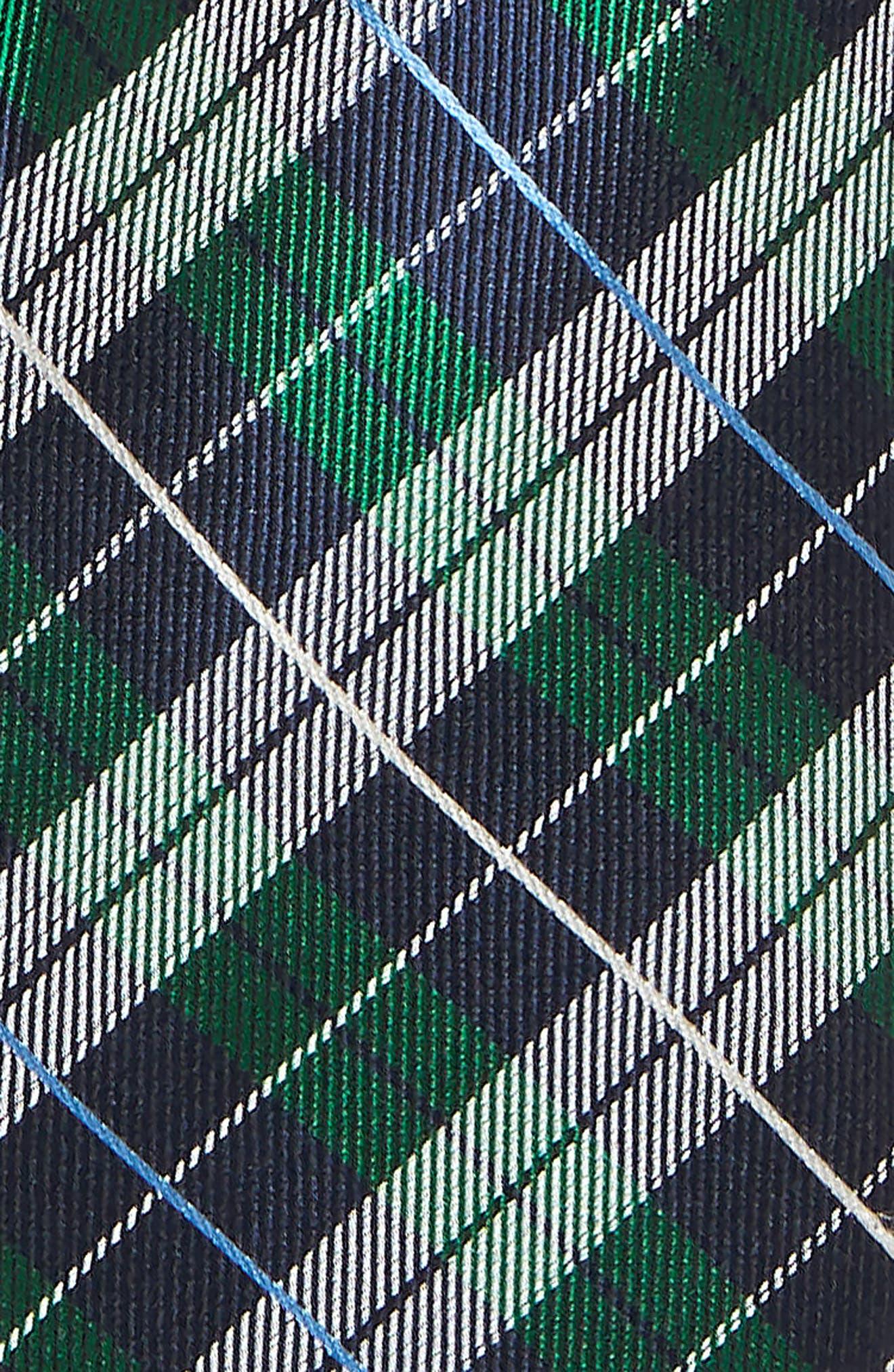 Plaid Silk Tie,                             Alternate thumbnail 2, color,                             GREEN