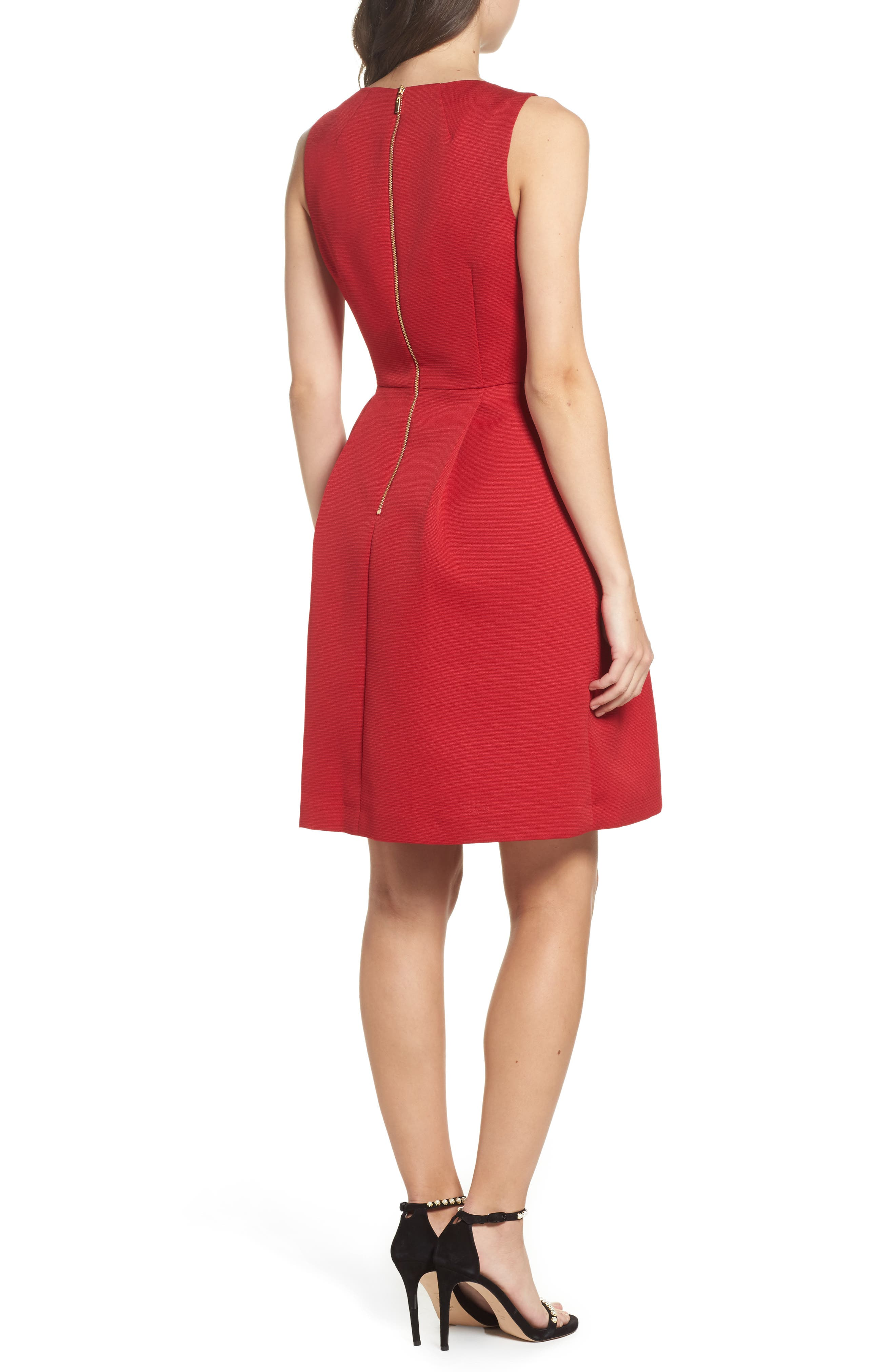 Bow Front A-Line Dress,                             Alternate thumbnail 4, color,