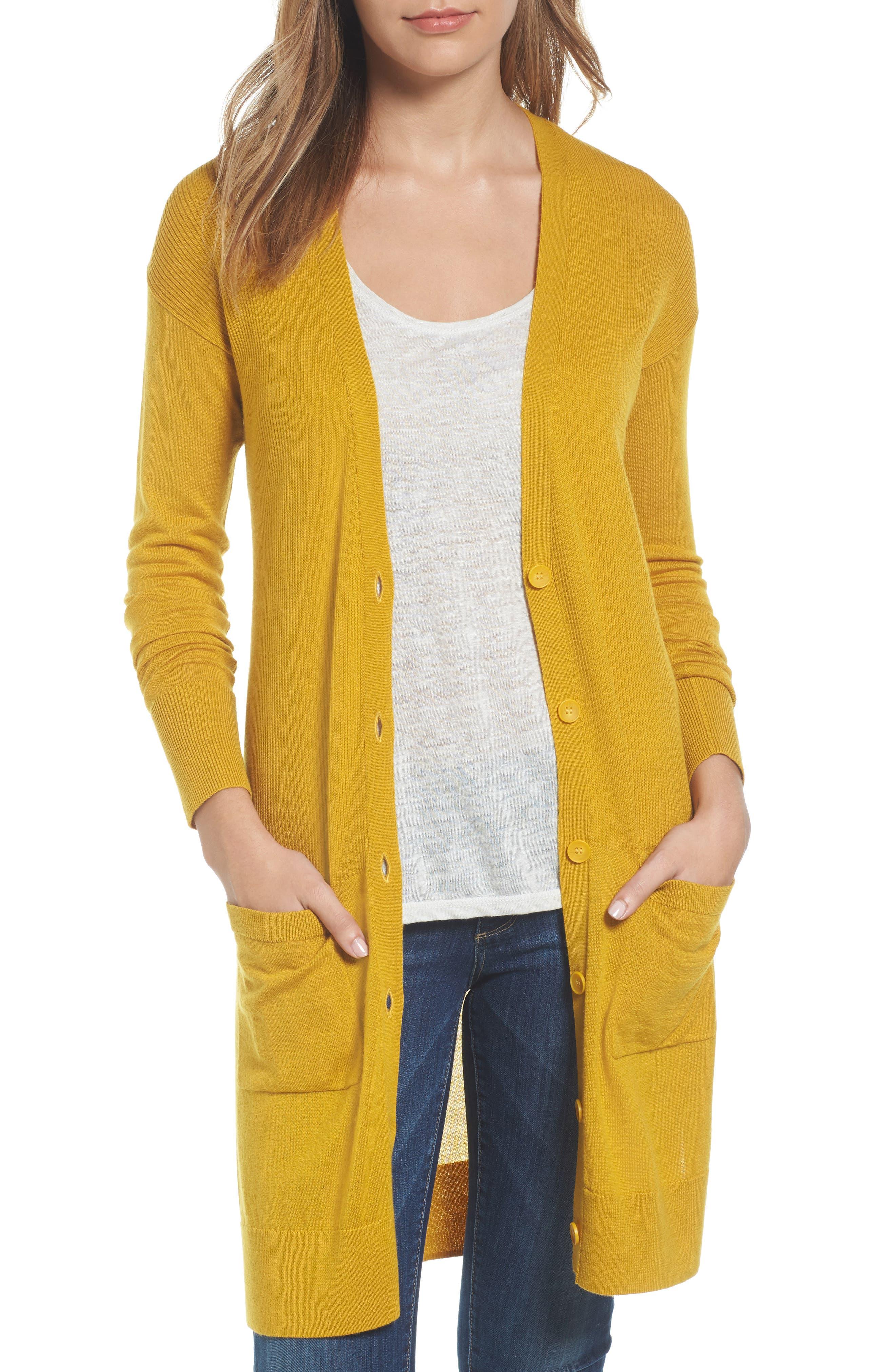 Rib Knit Wool Blend Cardigan,                         Main,                         color, 701