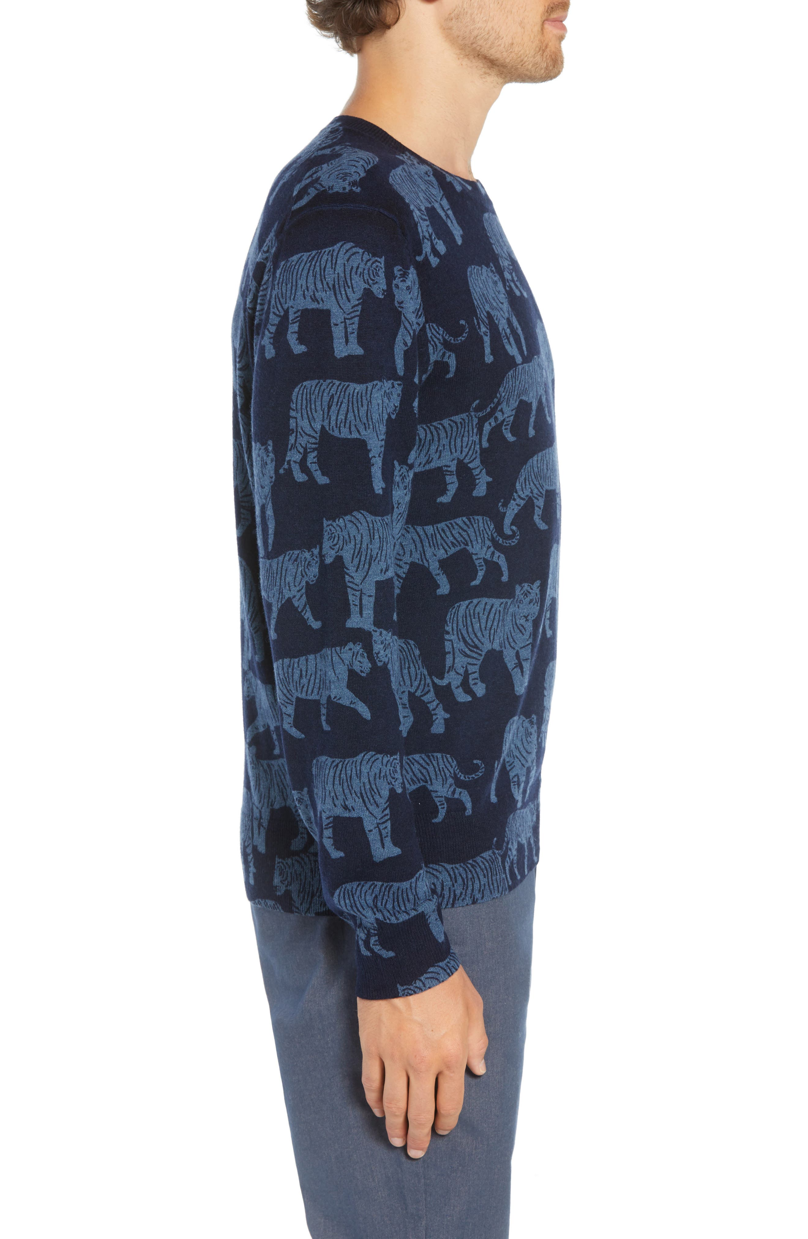 Slim Fit Tiger Print Sweater,                             Alternate thumbnail 3, color,                             NIGHTSHADOW/ FADED NAVY TIGRE