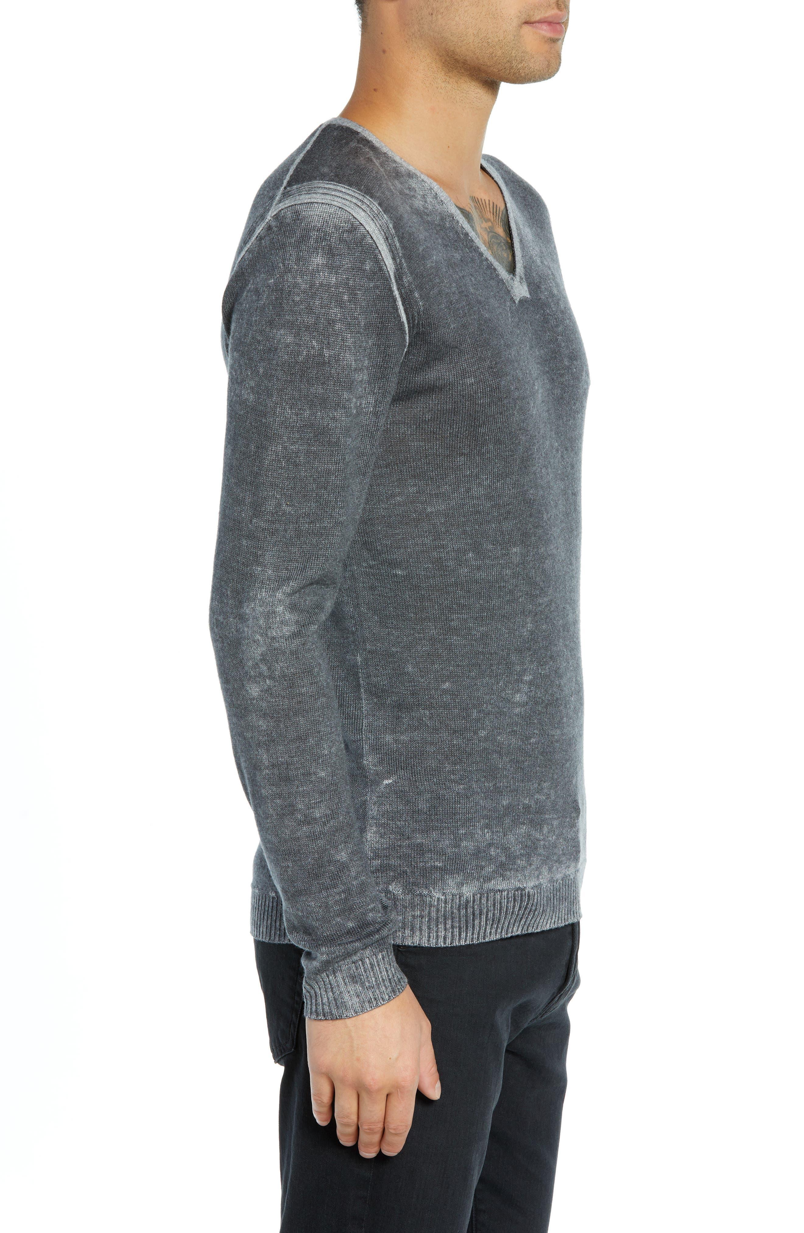 V-Neck Sweater,                             Alternate thumbnail 3, color,                             CHARCOAL