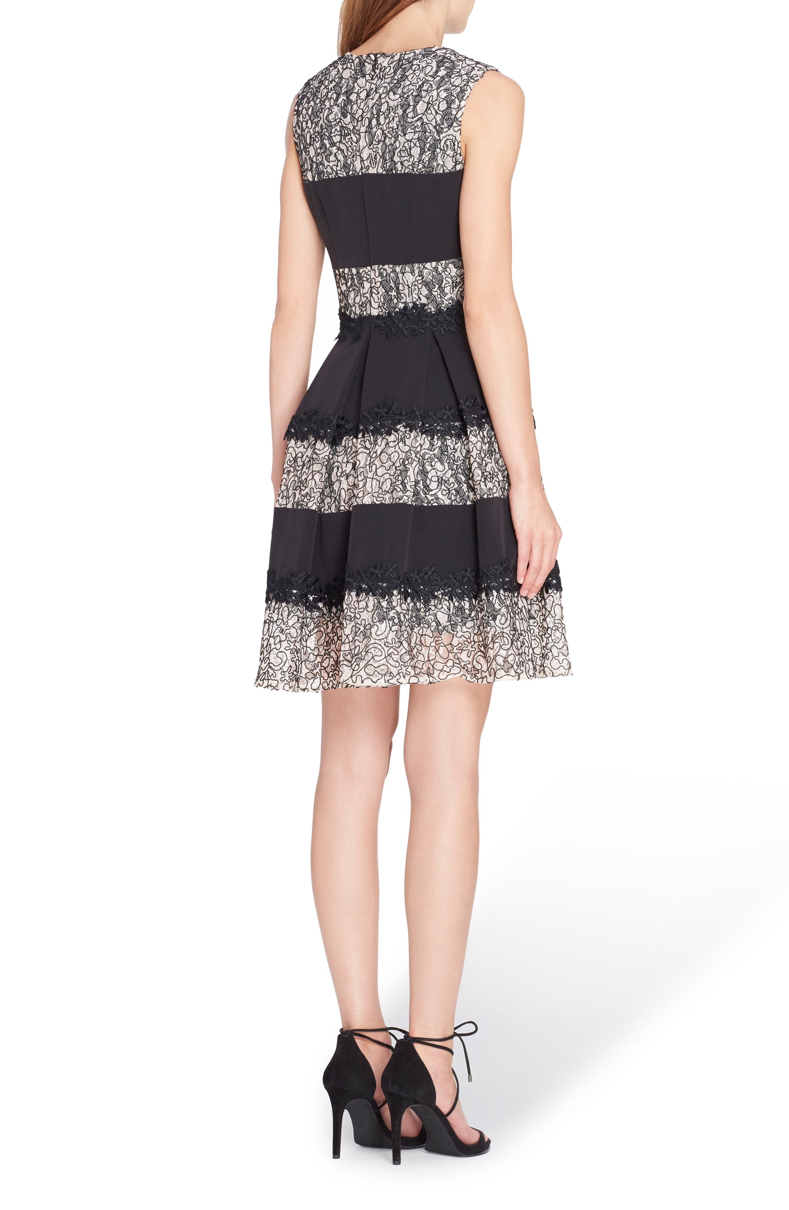 Stripe Lace Fit & Flare Dress,                             Alternate thumbnail 2, color,                             012