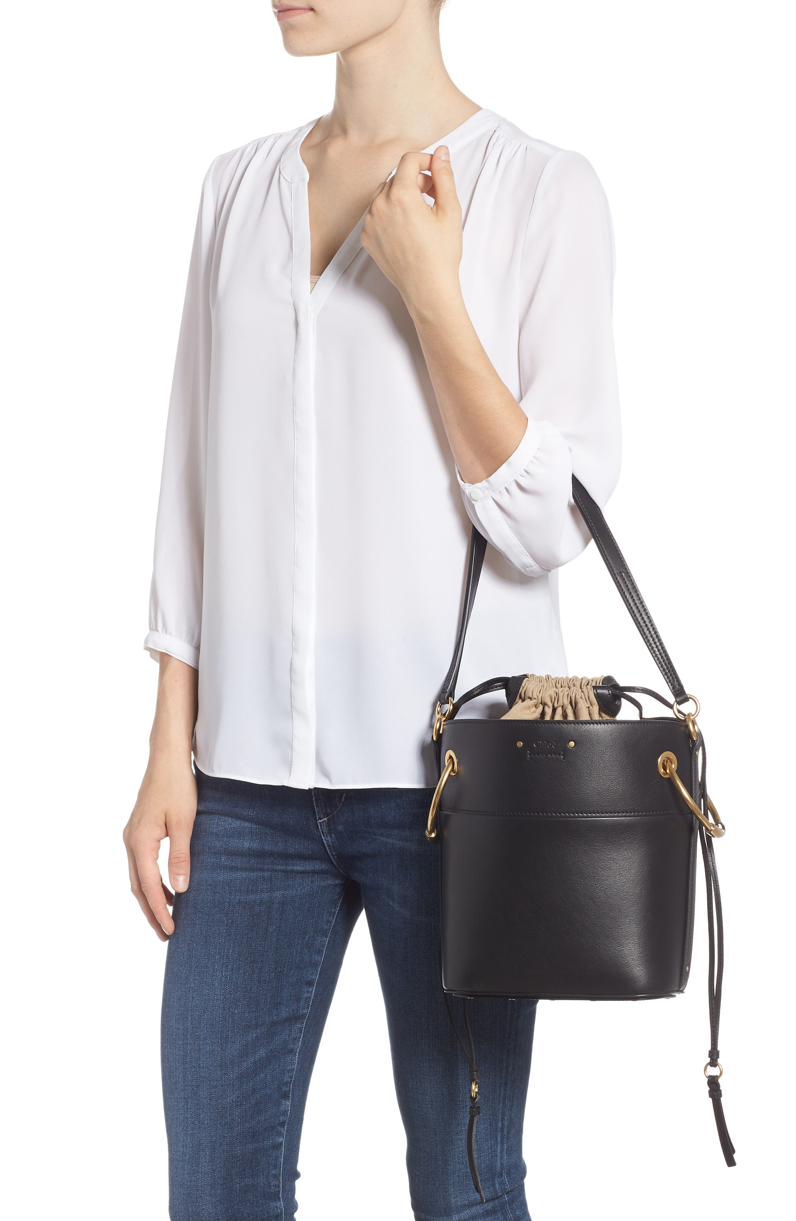 Roy Small Leather Bucket Bag,                             Alternate thumbnail 4, color,                             BLACK