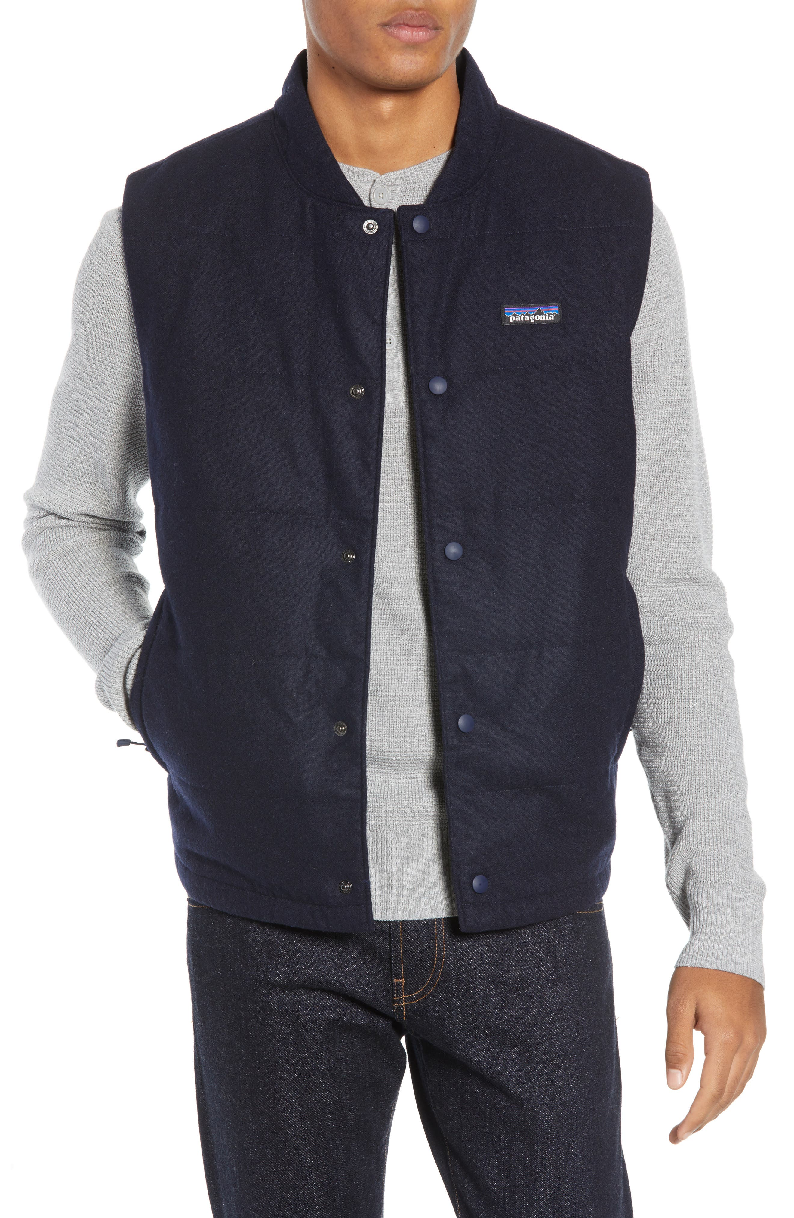 Recycled Woolyester Vest,                         Main,                         color, CLASSIC NAVY