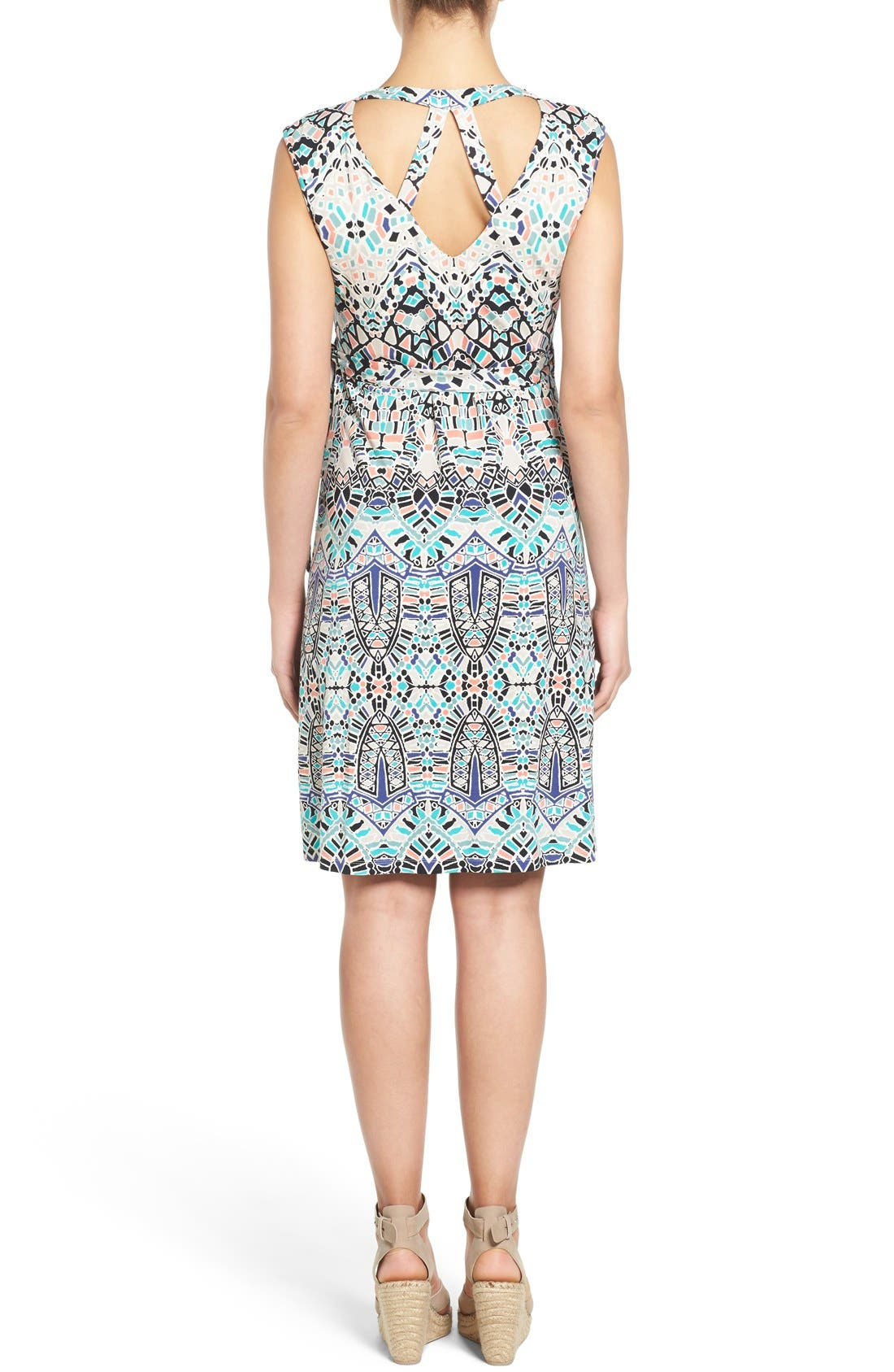 'Charmaine' Print Jersey Maternity Wrap Dress,                             Alternate thumbnail 4, color,                             INK TILES