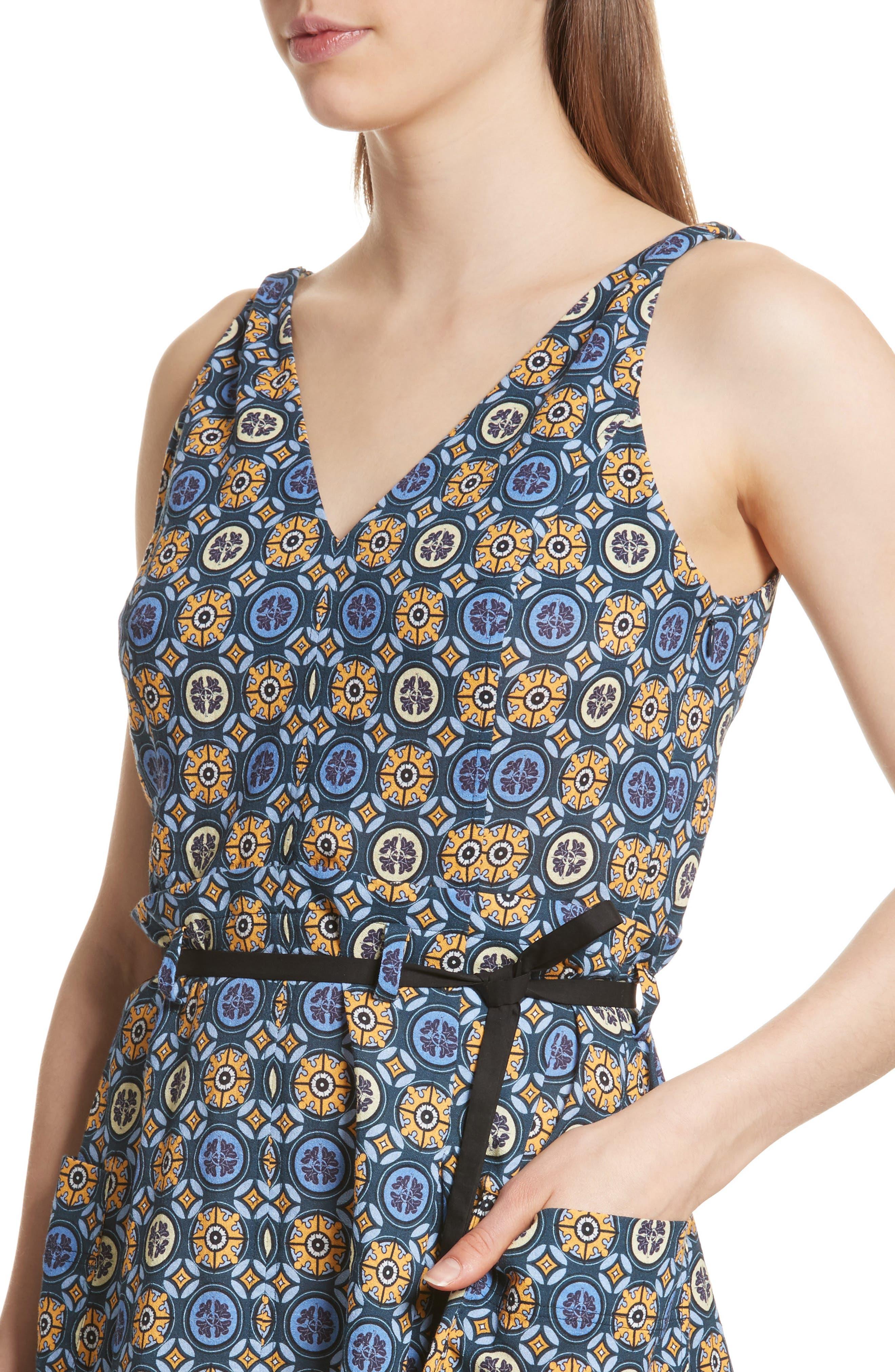 Tile Pattern Cotton Dress,                             Alternate thumbnail 4, color,                             452