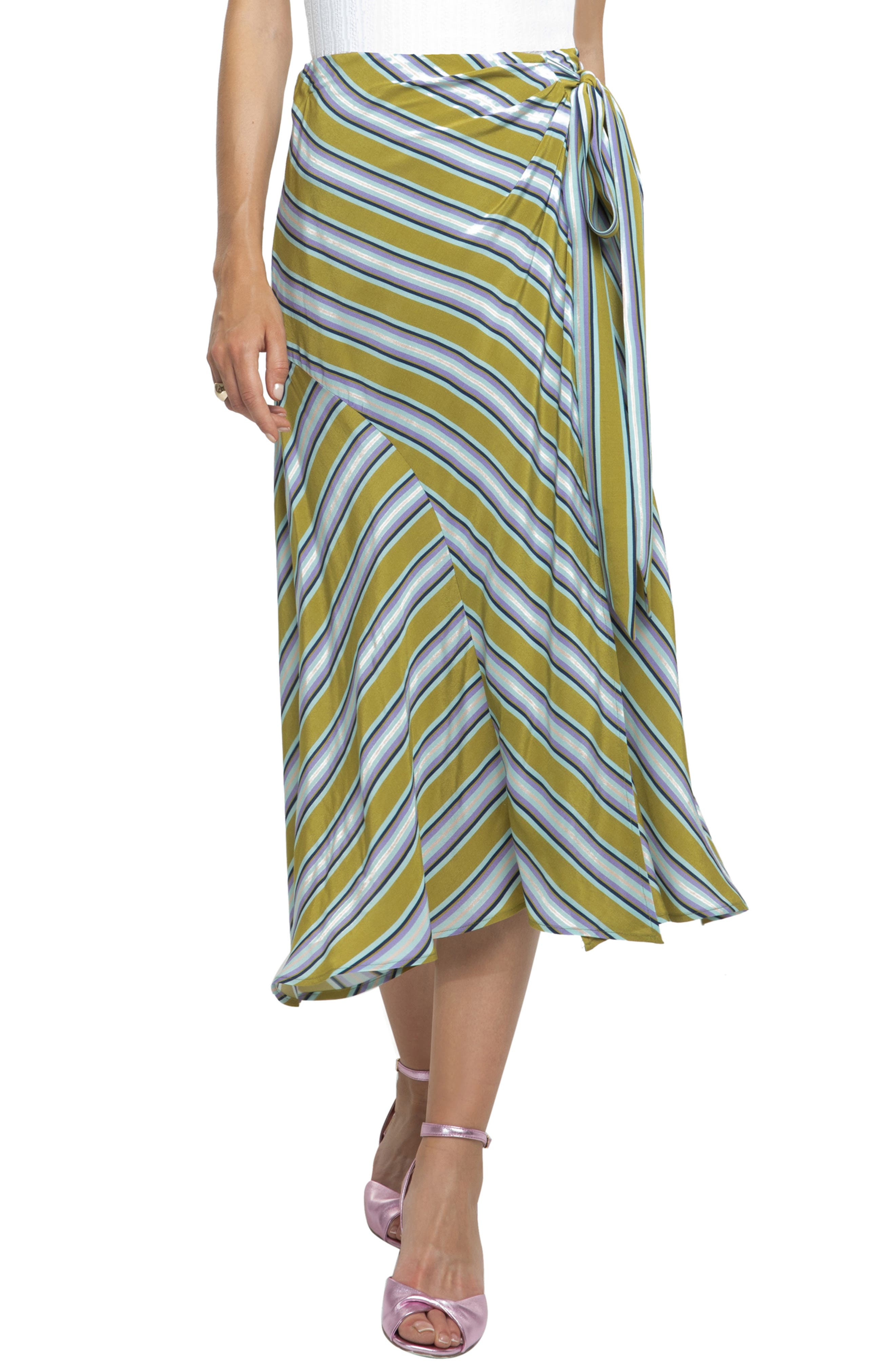 Astr The Label Stripe Midi Skirt, Green