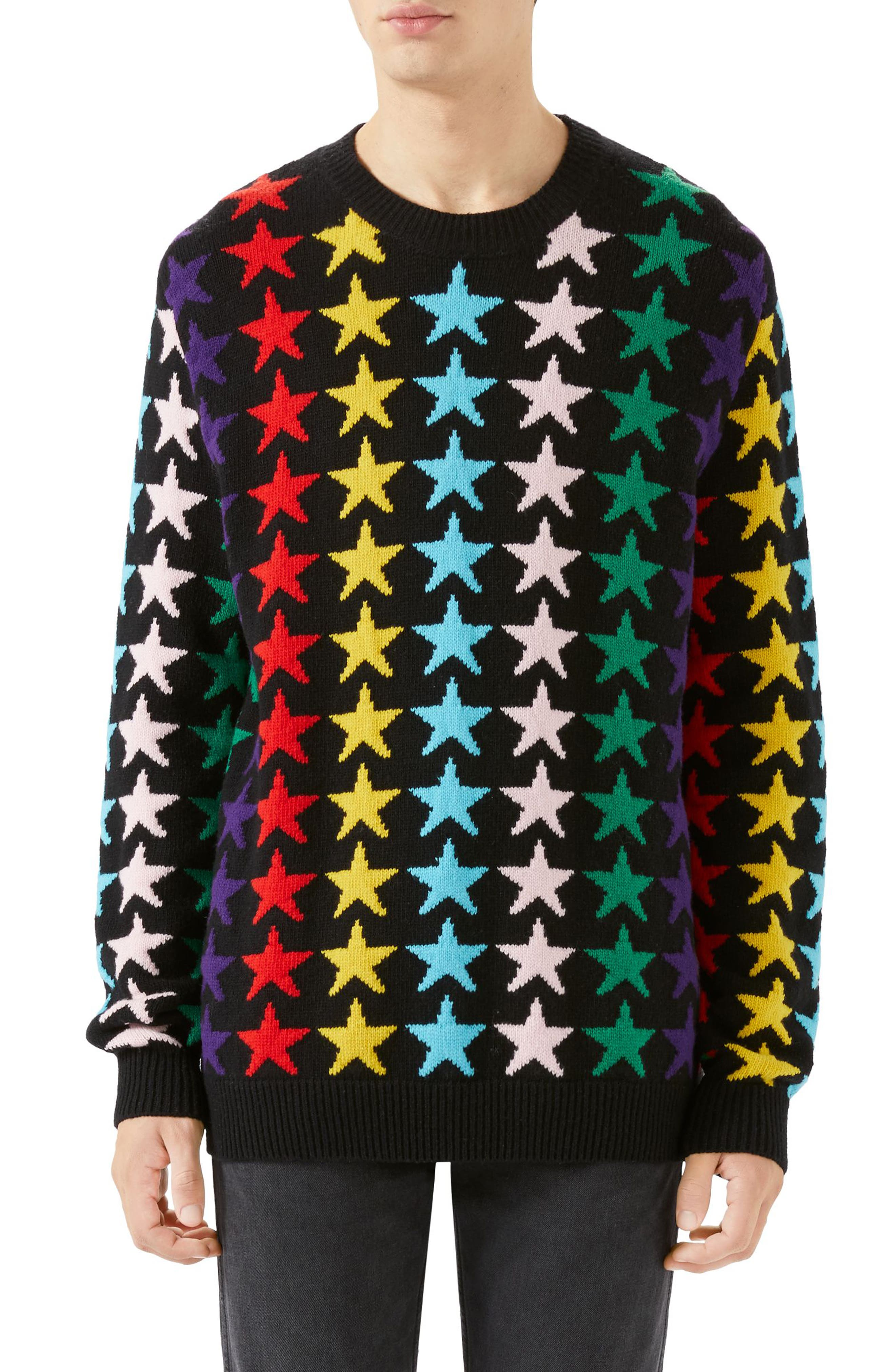Allover Jacquard Stars Wool Sweater,                         Main,                         color, BLACK