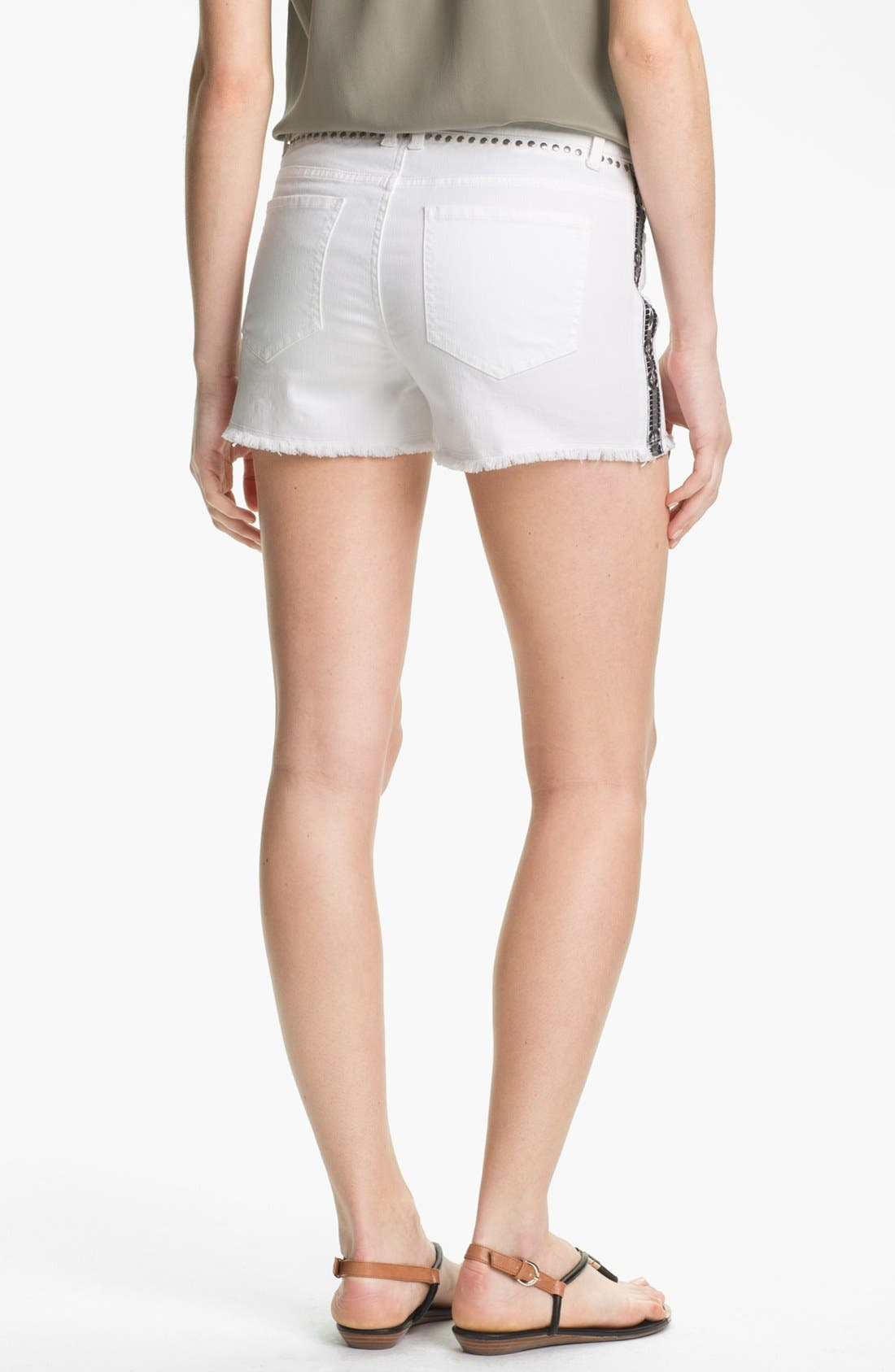 Embroidered Studded Cutoff Denim Shorts,                             Alternate thumbnail 2, color,