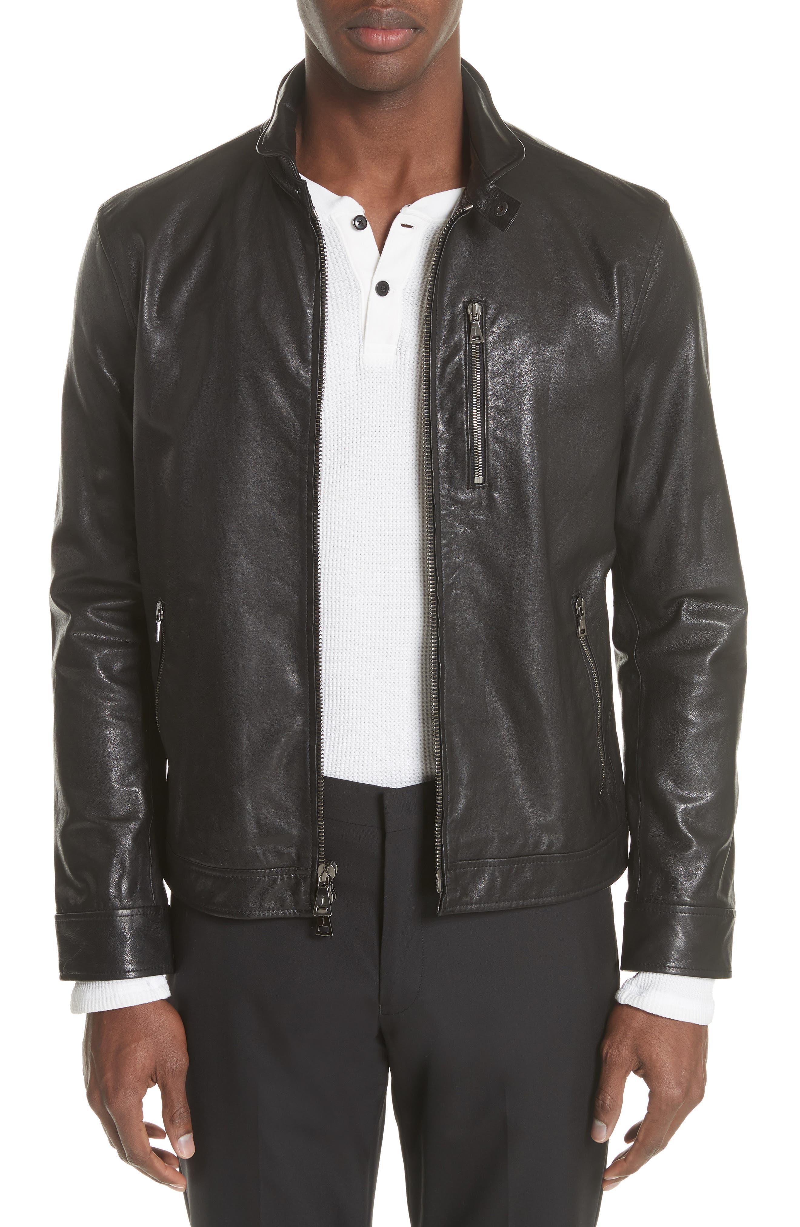 Slim Fit Leather Jacket,                         Main,                         color, 001
