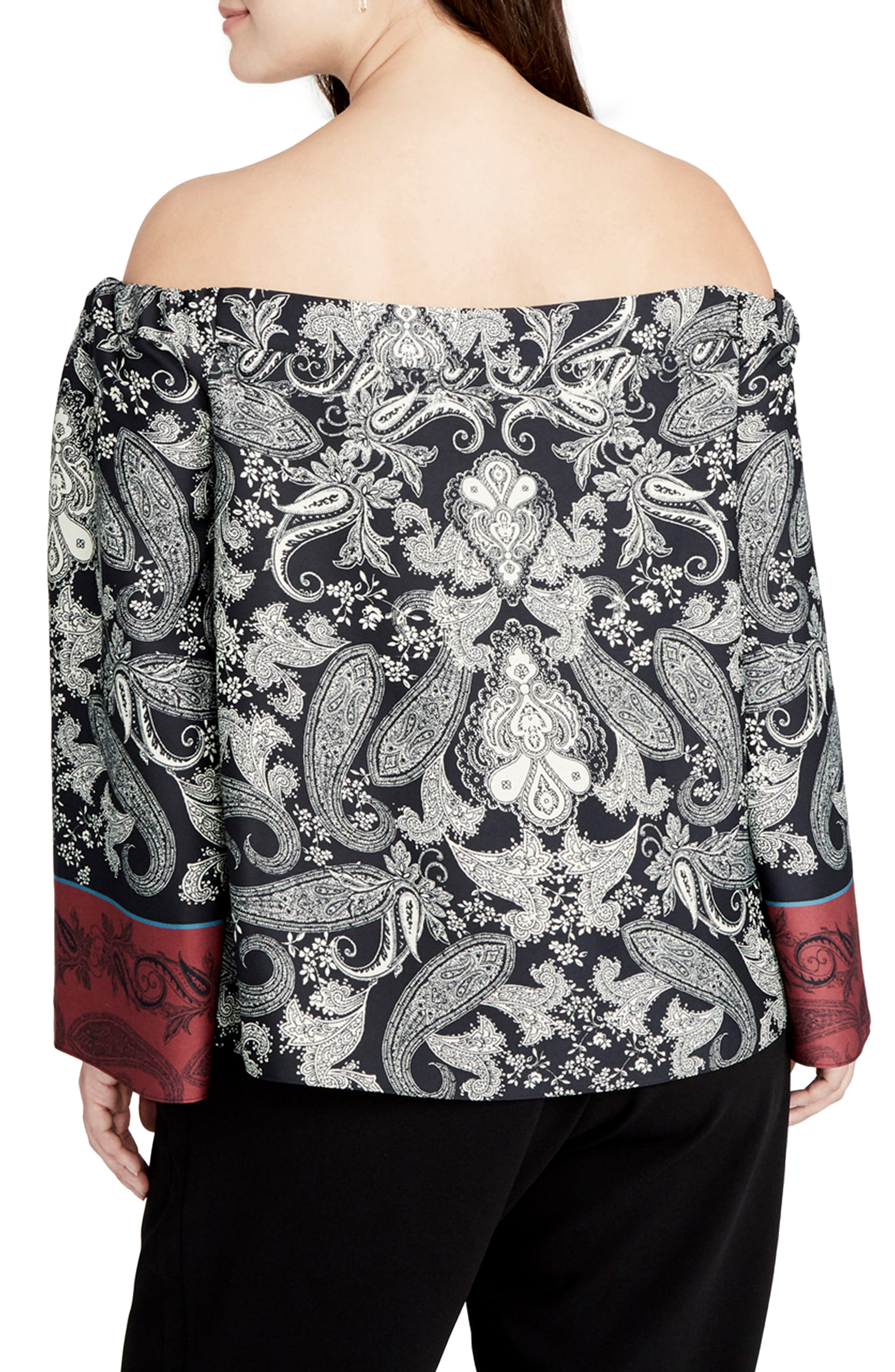 Placed Paisley Print Off the Shoulder Top,                             Alternate thumbnail 2, color,